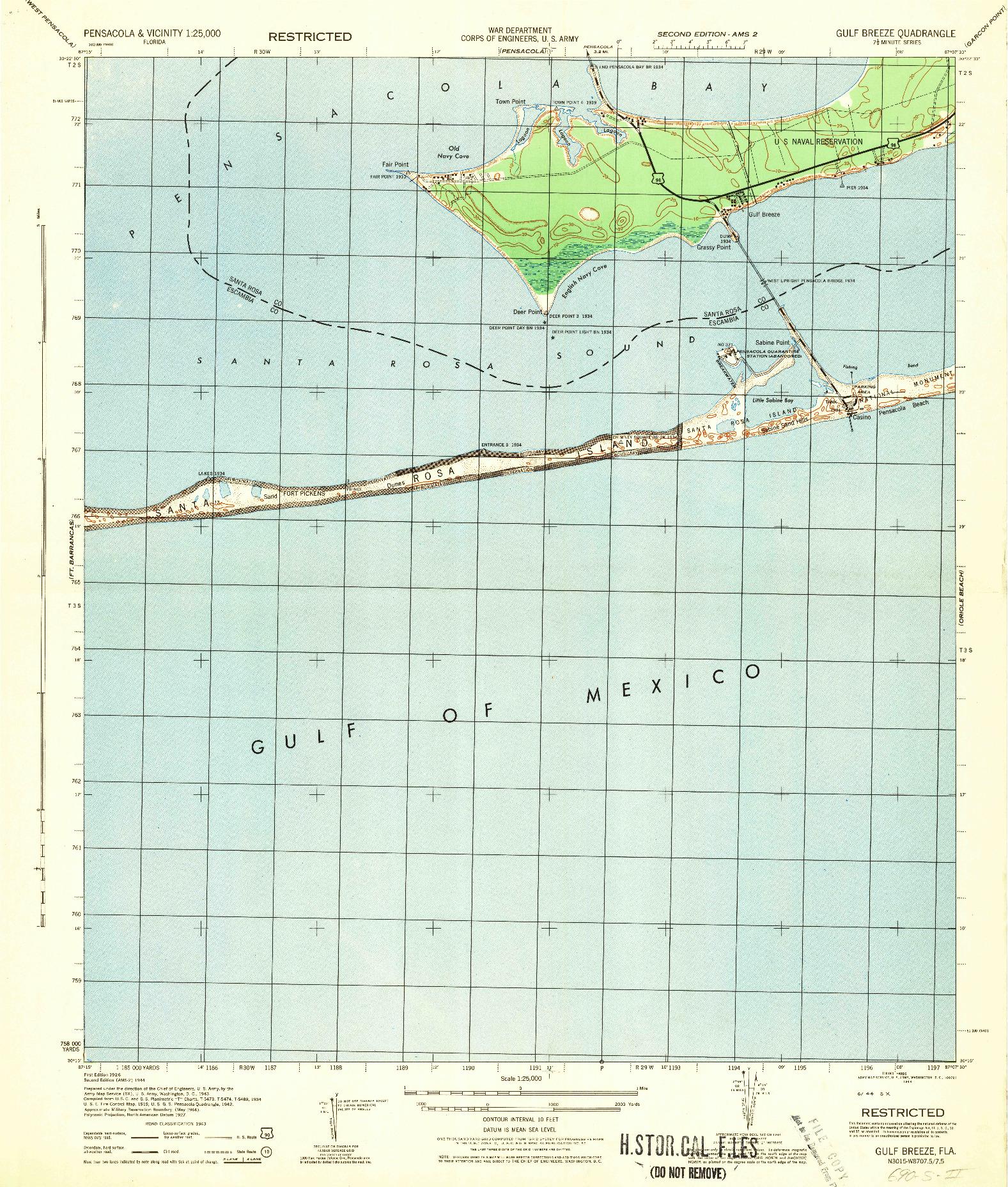 USGS 1:25000-SCALE QUADRANGLE FOR GULF BREEZE, FL 1944