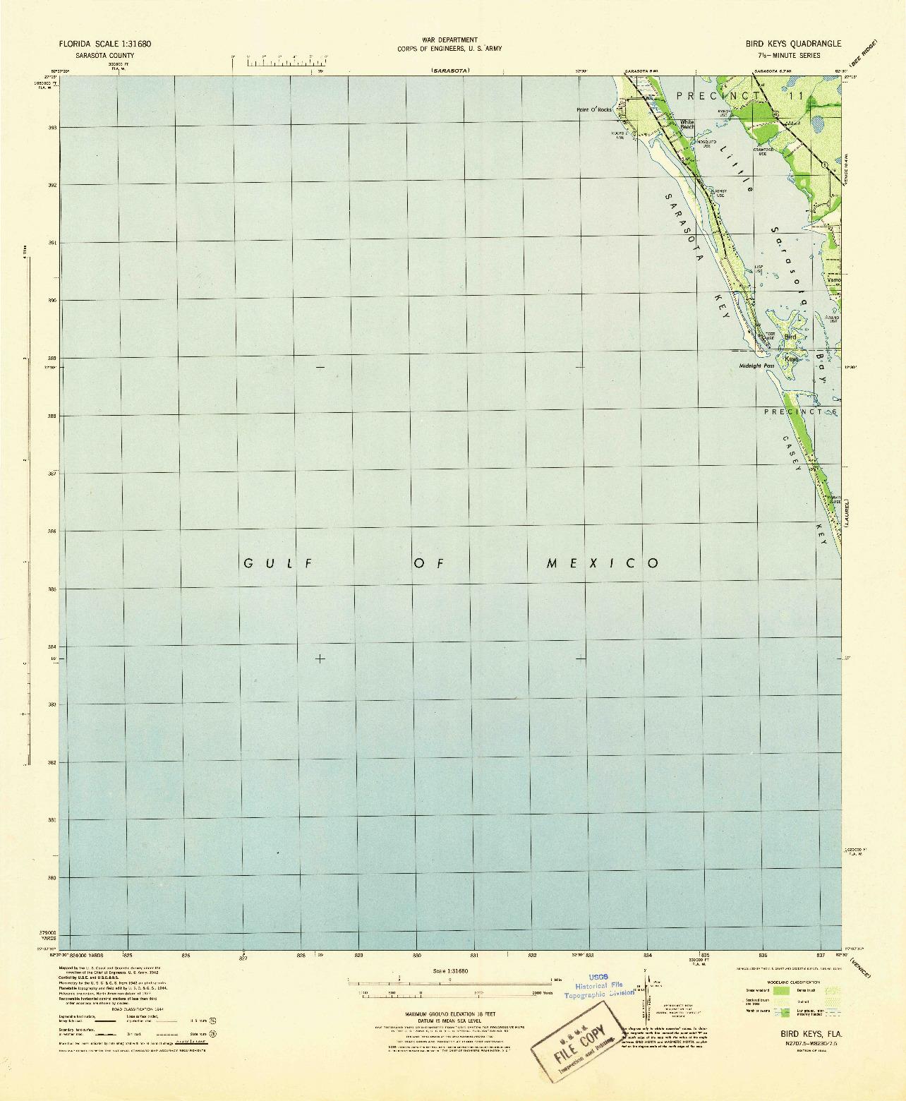 USGS 1:31680-SCALE QUADRANGLE FOR BIRD KEYS, FL 1944