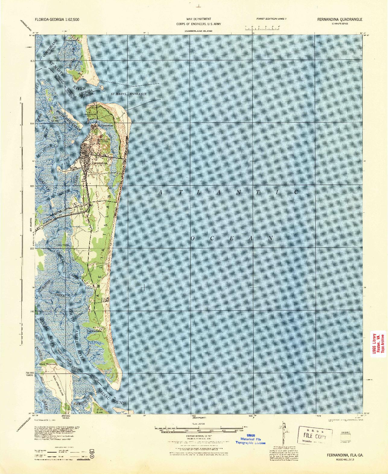 USGS 1:62500-SCALE QUADRANGLE FOR FERNANDINA, FL 1944