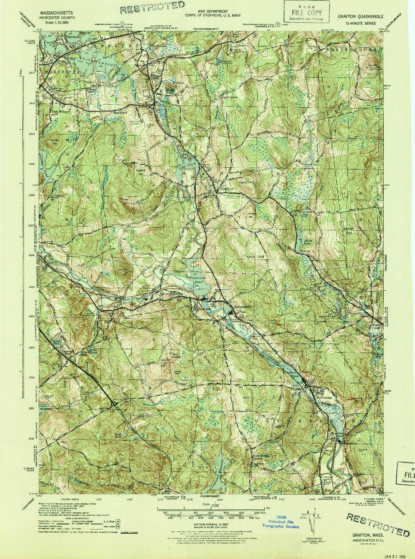 USGS 1:31680-SCALE QUADRANGLE FOR GRAFTON, MA 1944
