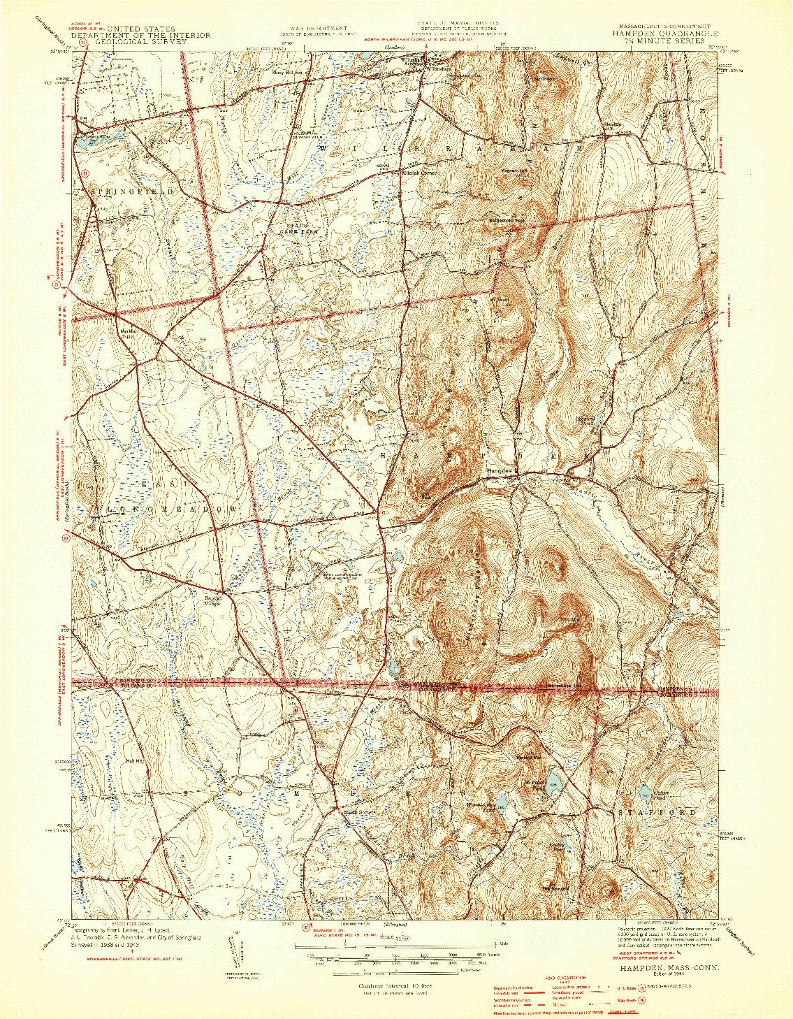 USGS 1:31680-SCALE QUADRANGLE FOR HAMPDEN, MA 1944