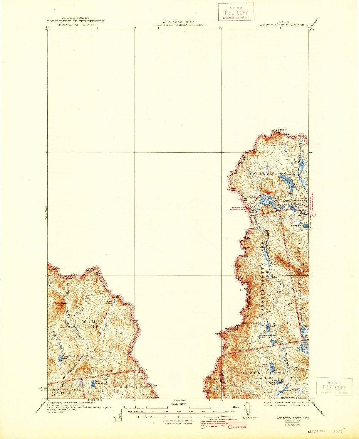 USGS 1:62500-SCALE QUADRANGLE FOR ARNOLD POND, ME 1935