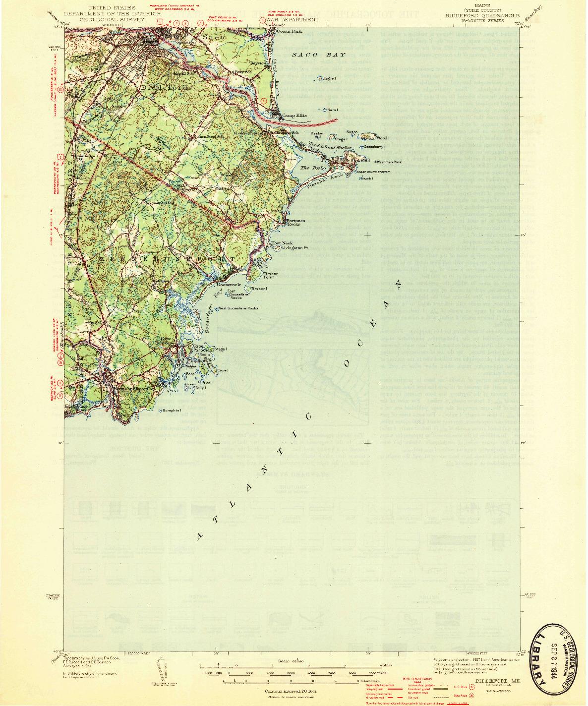 USGS 1:62500-SCALE QUADRANGLE FOR BIDDEFORD, ME 1944