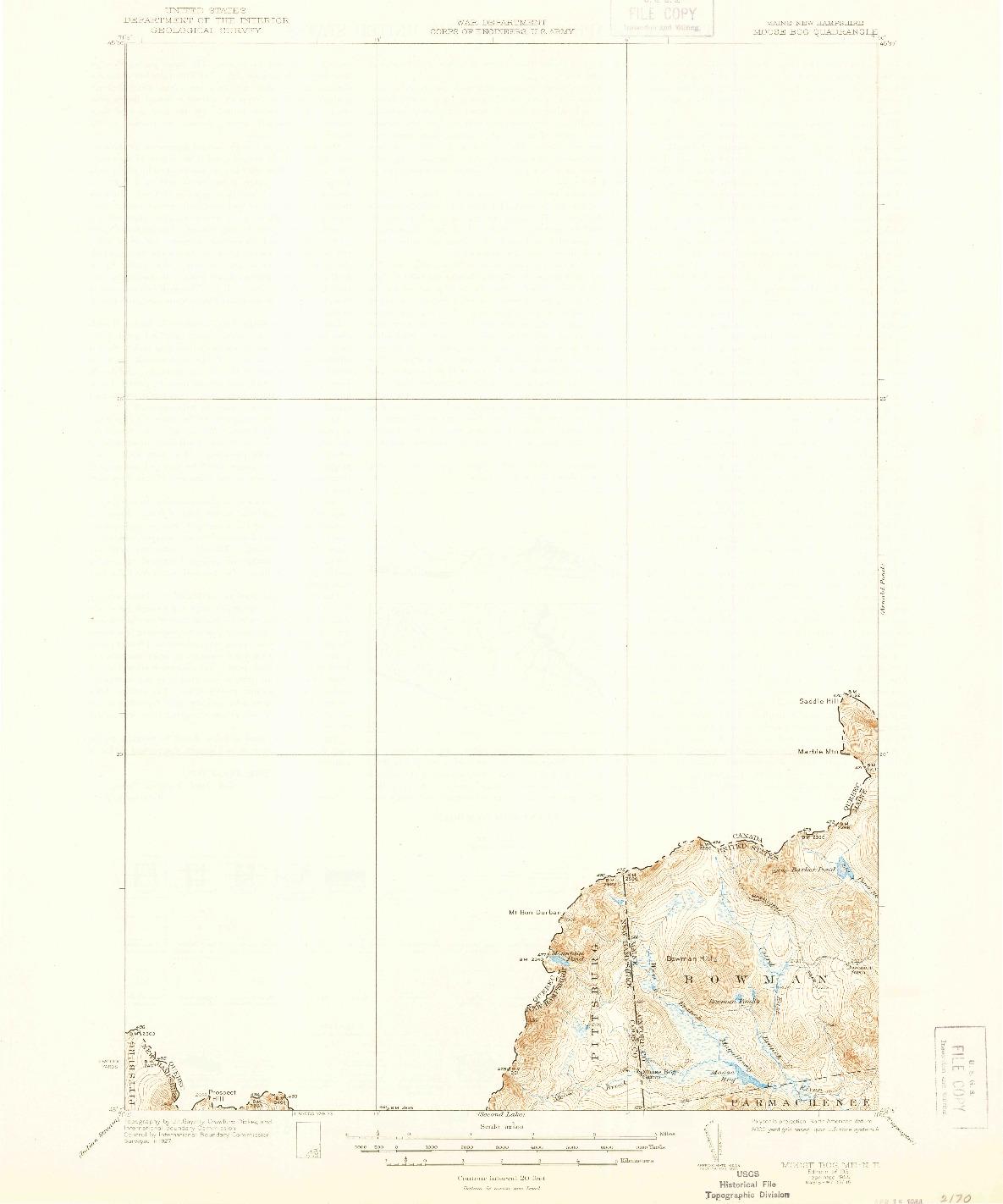 USGS 1:62500-SCALE QUADRANGLE FOR MOOSE BOG, ME 1931