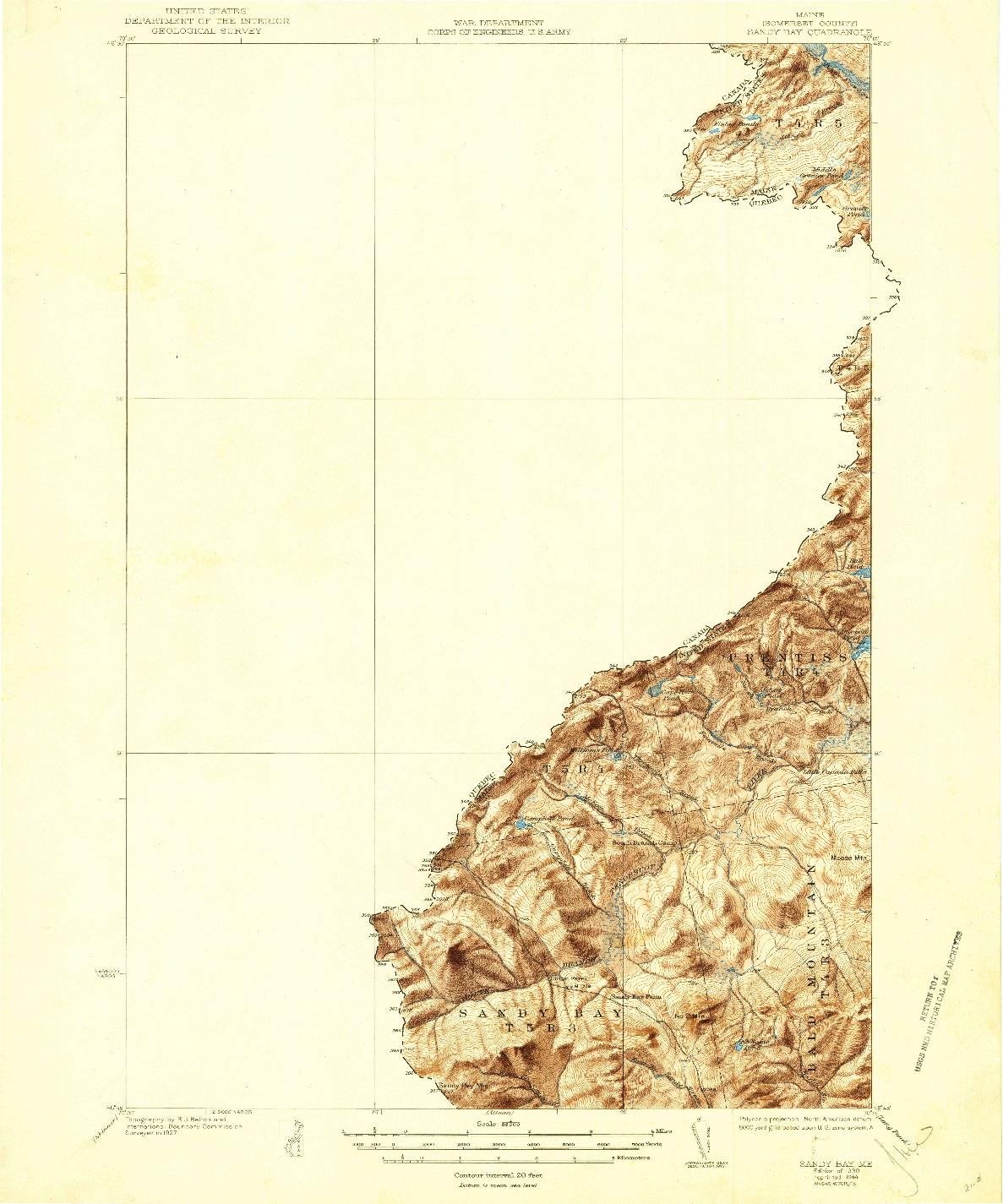 USGS 1:62500-SCALE QUADRANGLE FOR SANDY BAY, ME 1930