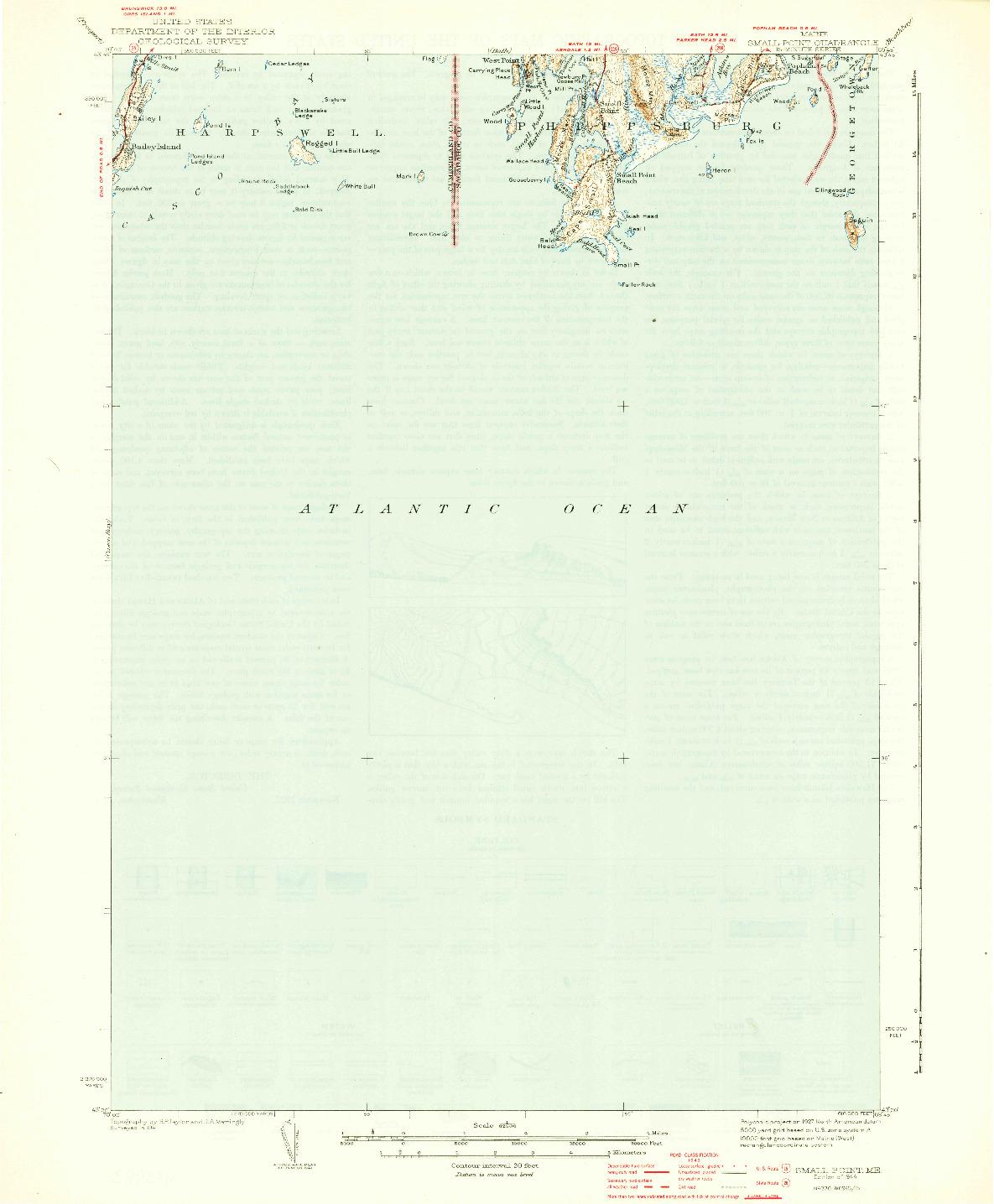 USGS 1:62500-SCALE QUADRANGLE FOR SMALL POINT, ME 1944