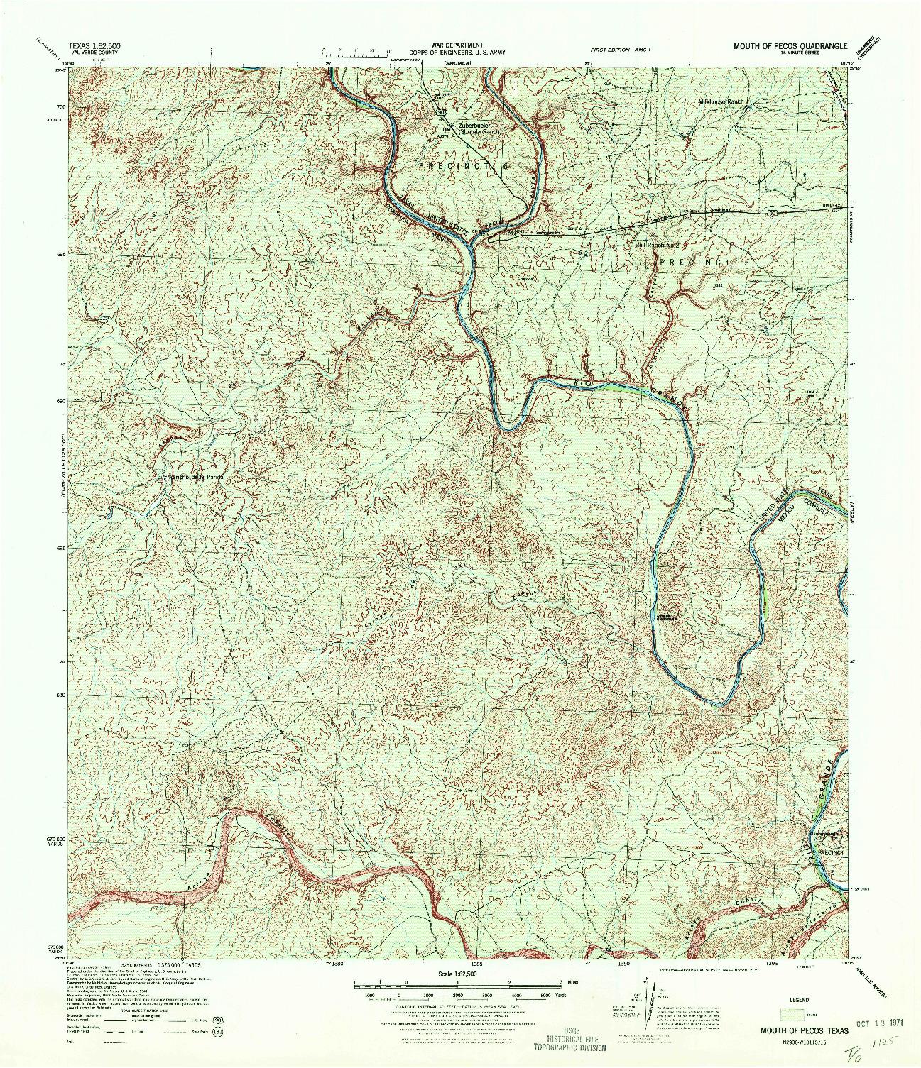 USGS 1:62500-SCALE QUADRANGLE FOR MOUTH OF PECOS, TX 1944