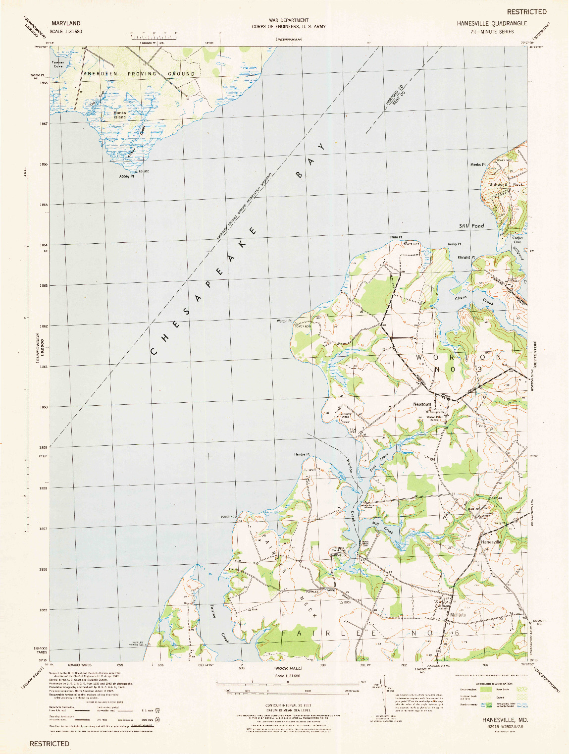 USGS 1:31680-SCALE QUADRANGLE FOR HANESVILLE, MD 1944