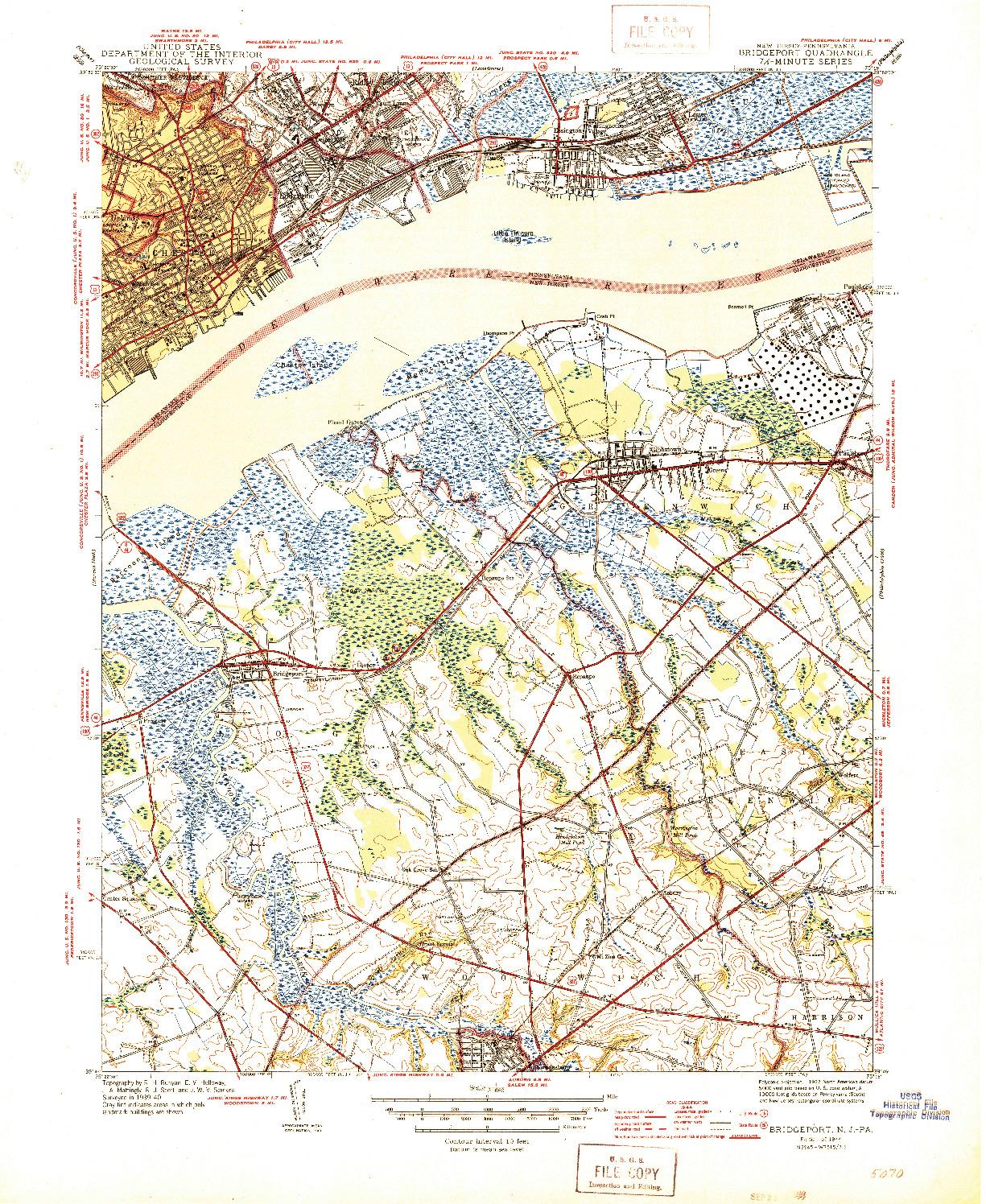 USGS 1:31680-SCALE QUADRANGLE FOR BRIDGEPORT, NJ 1944