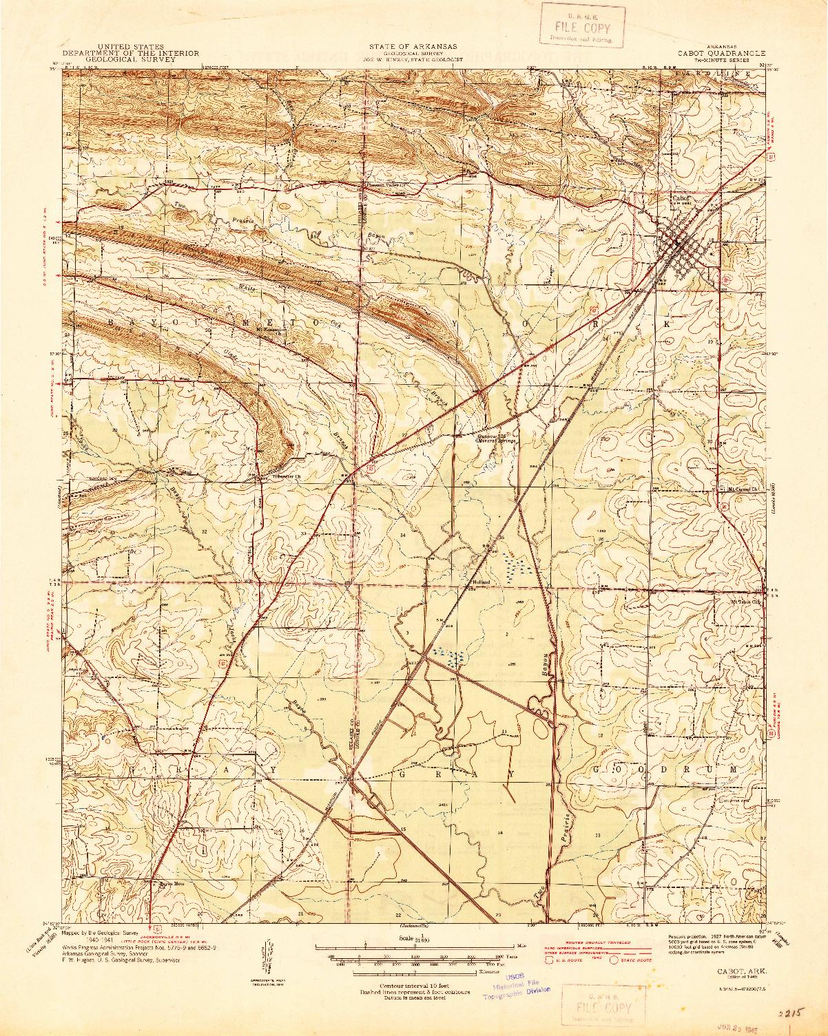 USGS 1:31680-SCALE QUADRANGLE FOR CABOT, AR 1941
