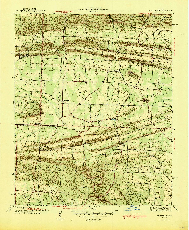 USGS 1:31680-SCALE QUADRANGLE FOR OLMSTEAD, AR 1941