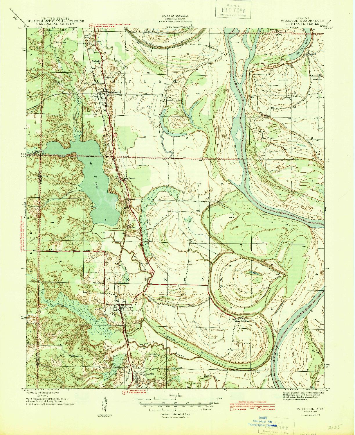 USGS 1:31680-SCALE QUADRANGLE FOR WOODSON, AR 1940