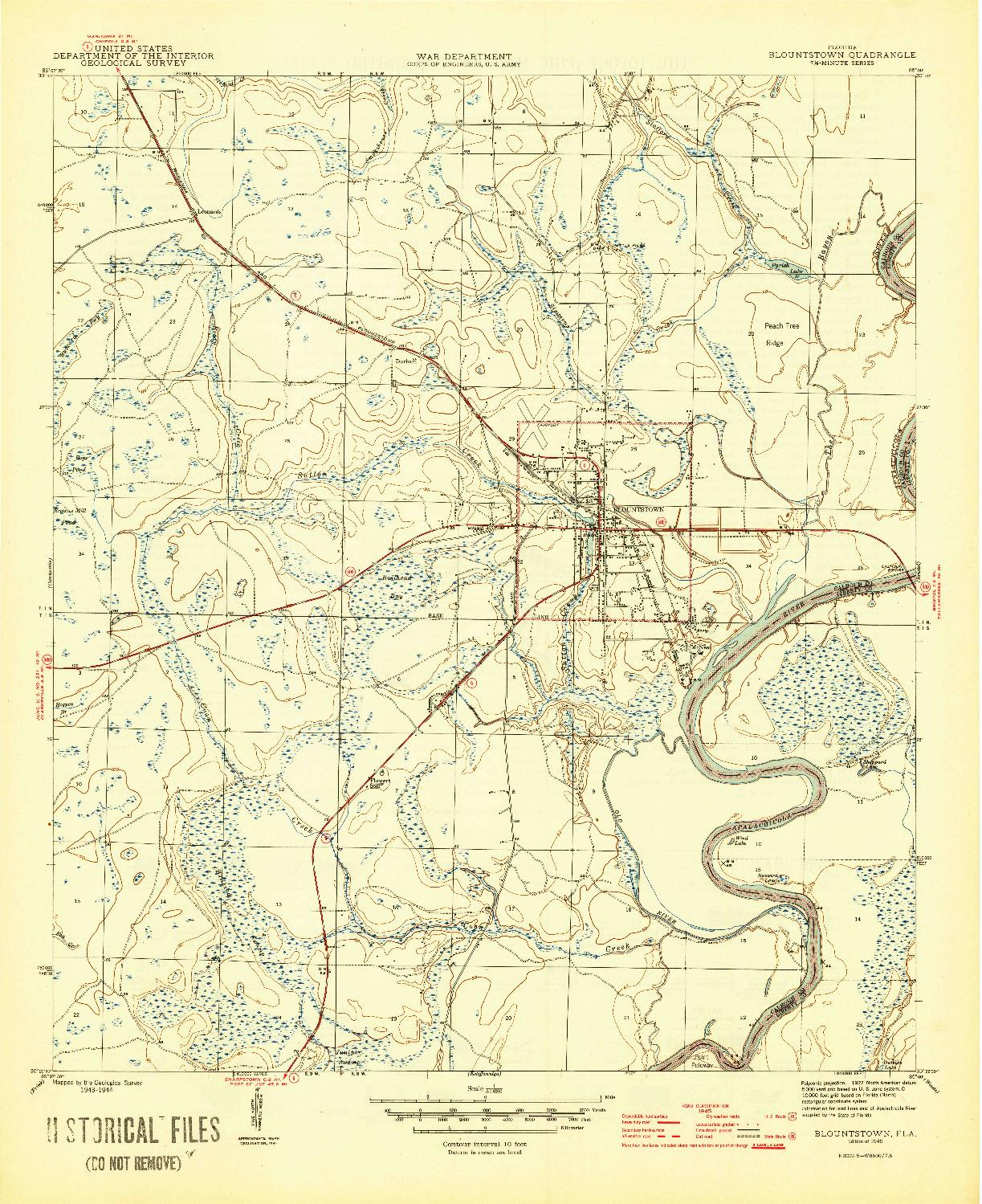 USGS 1:31680-SCALE QUADRANGLE FOR BLOUNTSTOWN, FL 1945