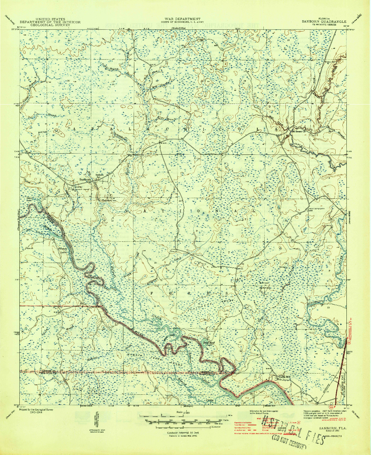 USGS 1:31680-SCALE QUADRANGLE FOR SANBORN, FL 1945