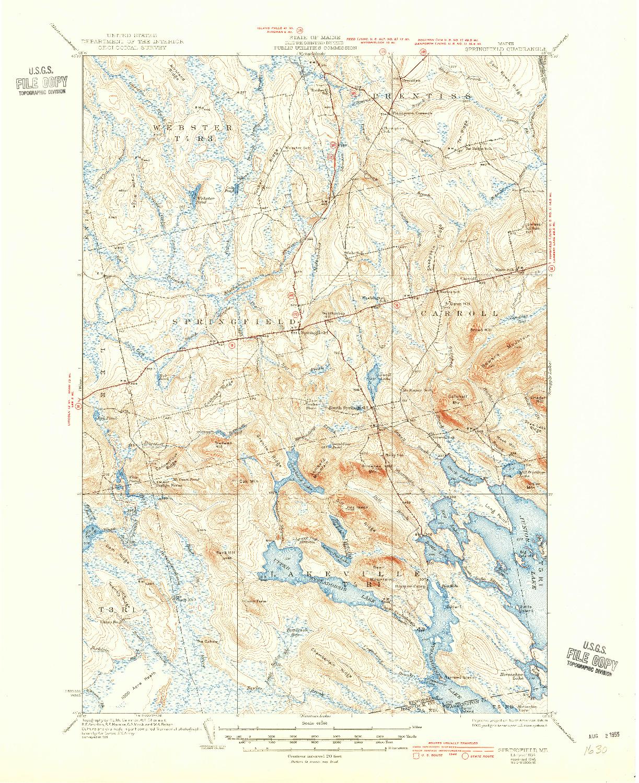 USGS 1:62500-SCALE QUADRANGLE FOR SPRINGFIELD, ME 1934
