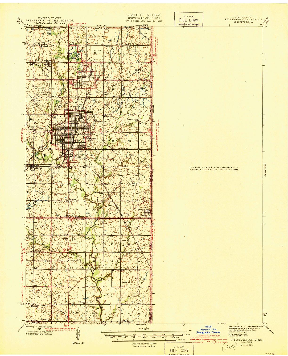 USGS 1:62500-SCALE QUADRANGLE FOR PITTSBURG, KS 1945