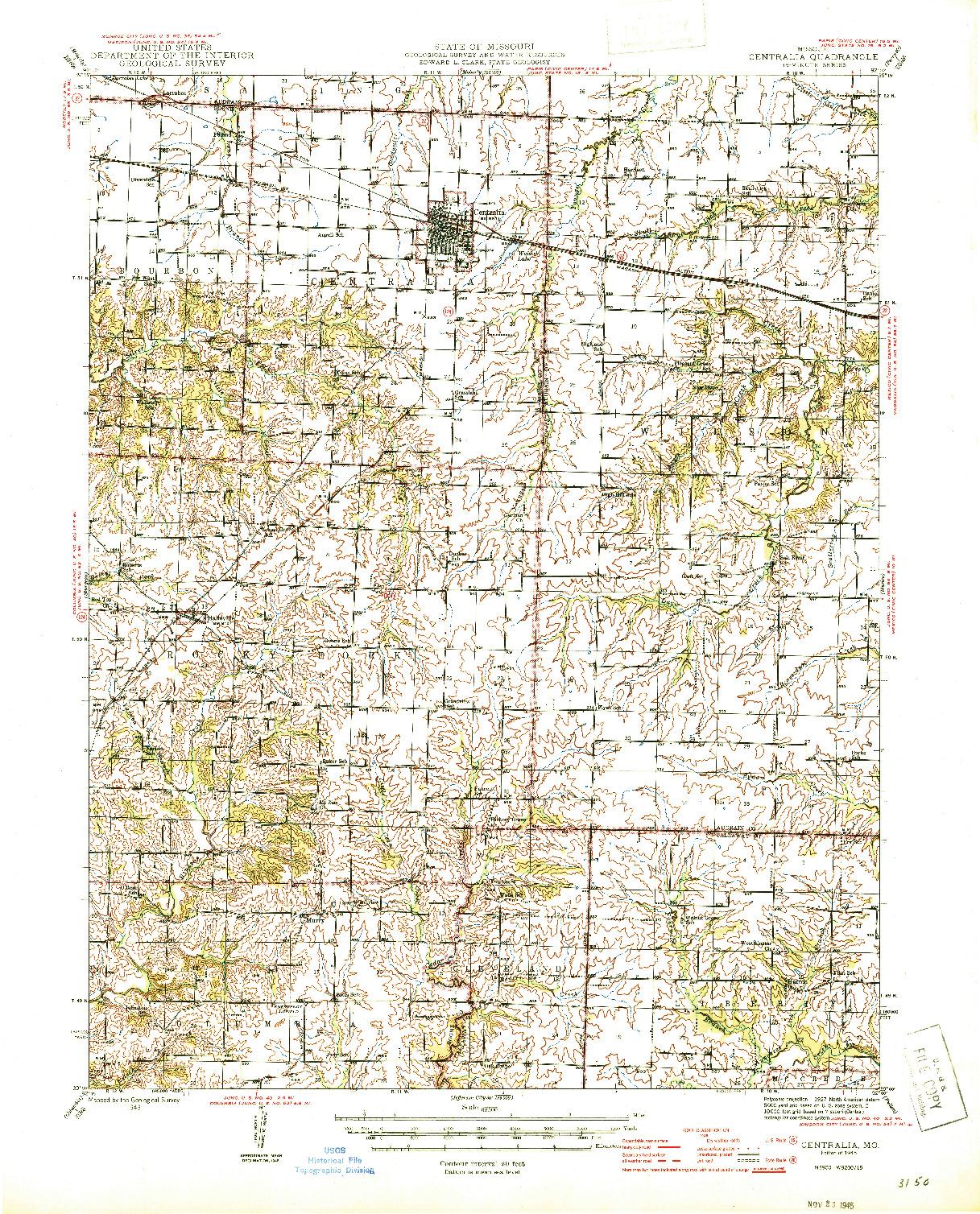 USGS 1:62500-SCALE QUADRANGLE FOR CENTRALIA, MO 1945