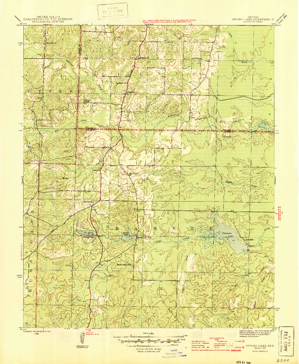USGS 1:31680-SCALE QUADRANGLE FOR SPRING LAKE, AR 1944