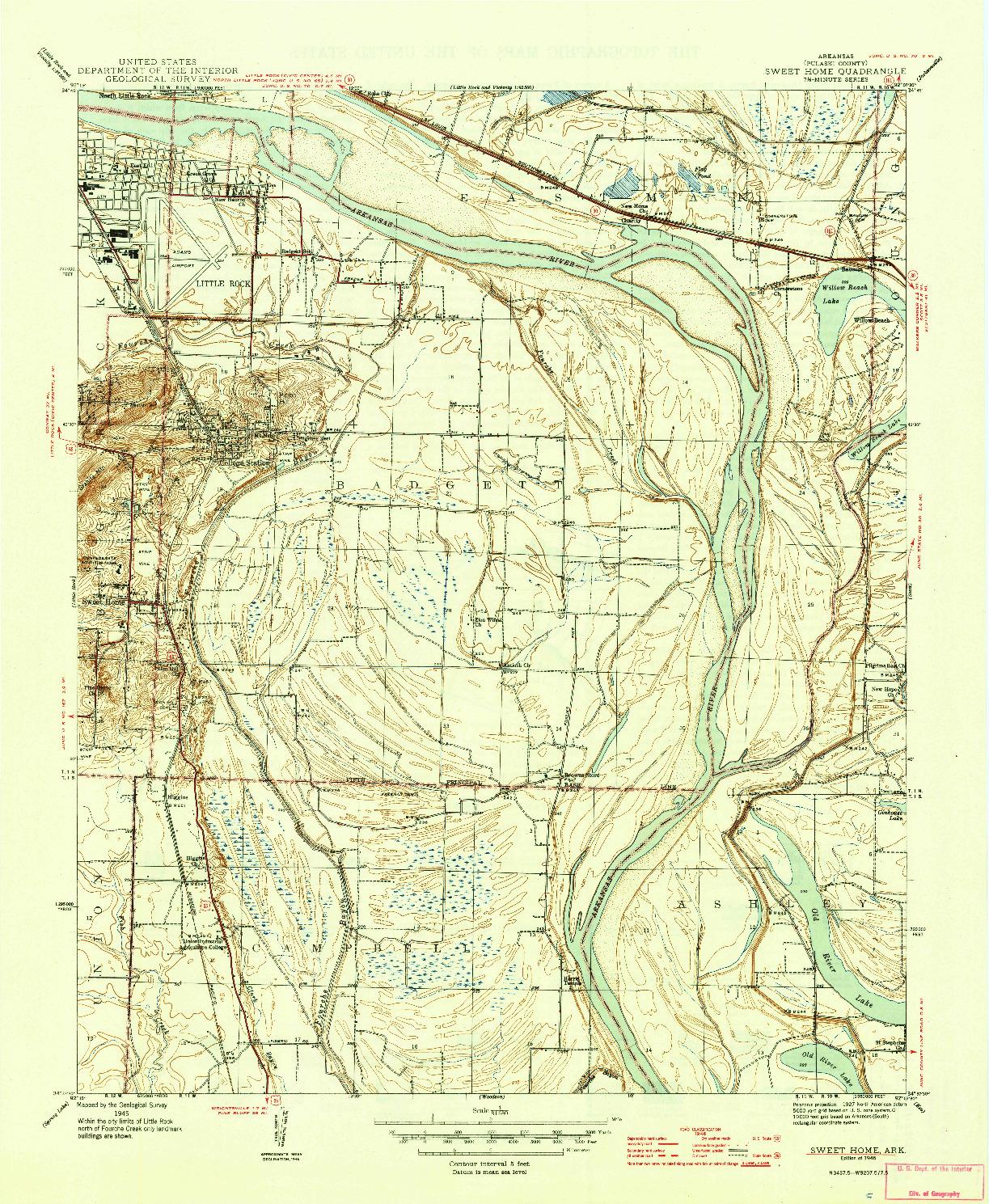 USGS 1:31680-SCALE QUADRANGLE FOR SWEET HOME, AR 1945