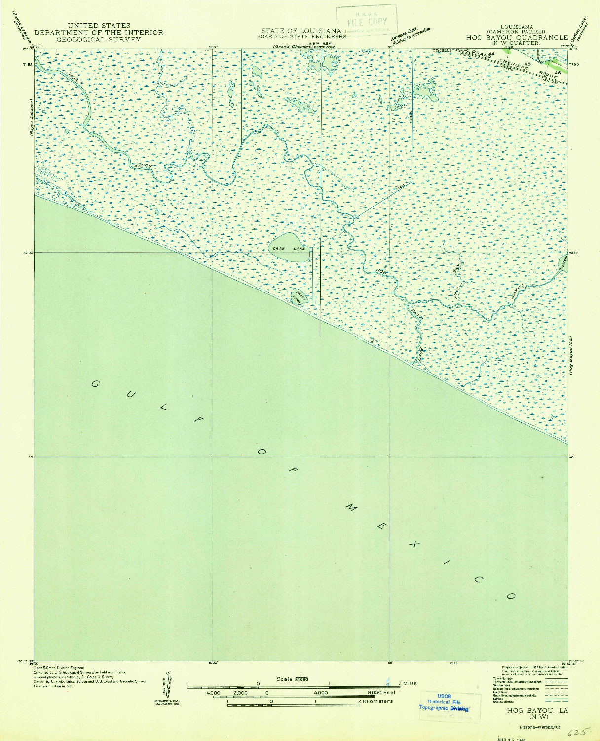 USGS 1:31680-SCALE QUADRANGLE FOR HOG BAYOU NW, LA 1946