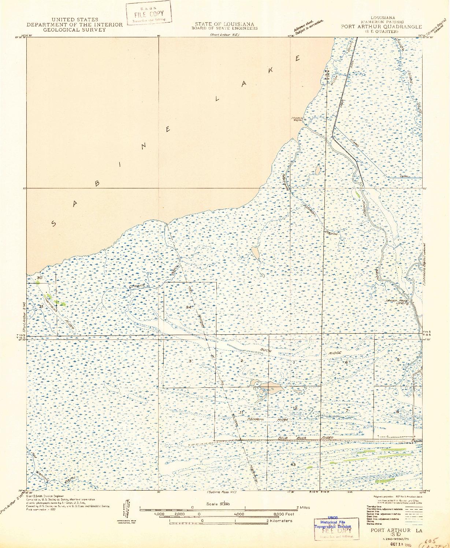 USGS 1:31680-SCALE QUADRANGLE FOR PORT ARTHUR SE, LA 1946