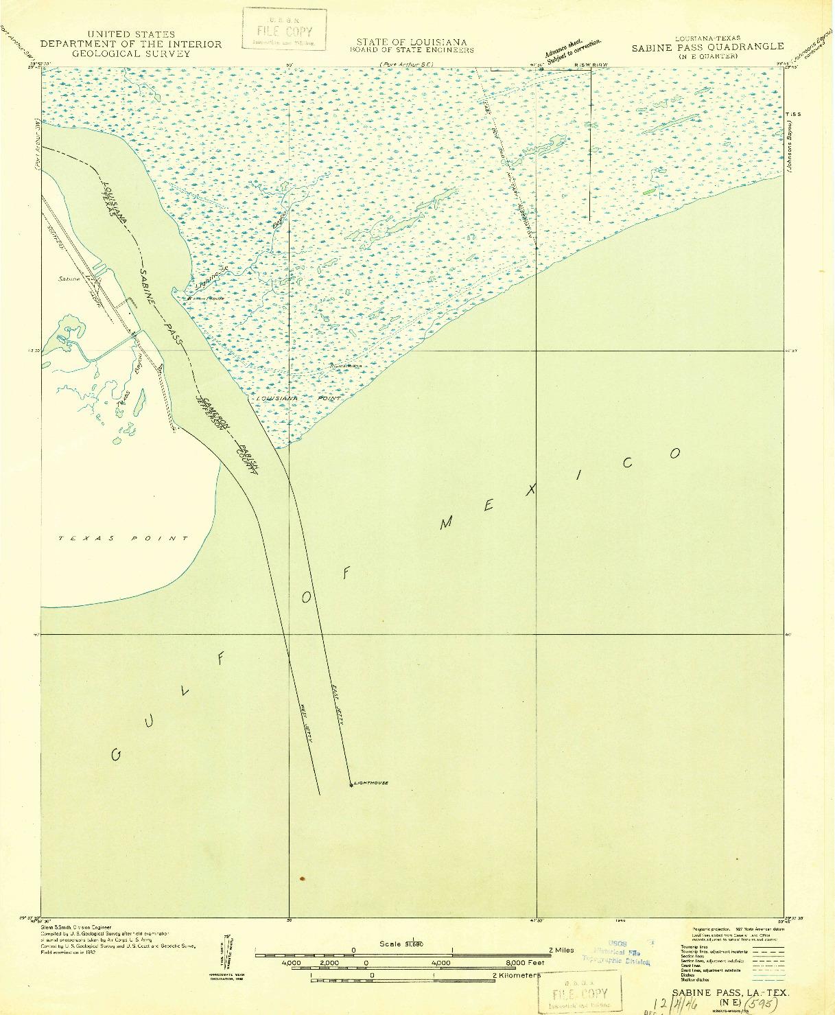 USGS 1:31680-SCALE QUADRANGLE FOR SABINE PASS NE, LA 1946