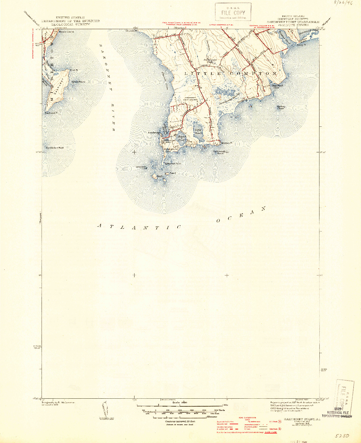 USGS 1:31680-SCALE QUADRANGLE FOR SAKONNET POINT, RI 1942