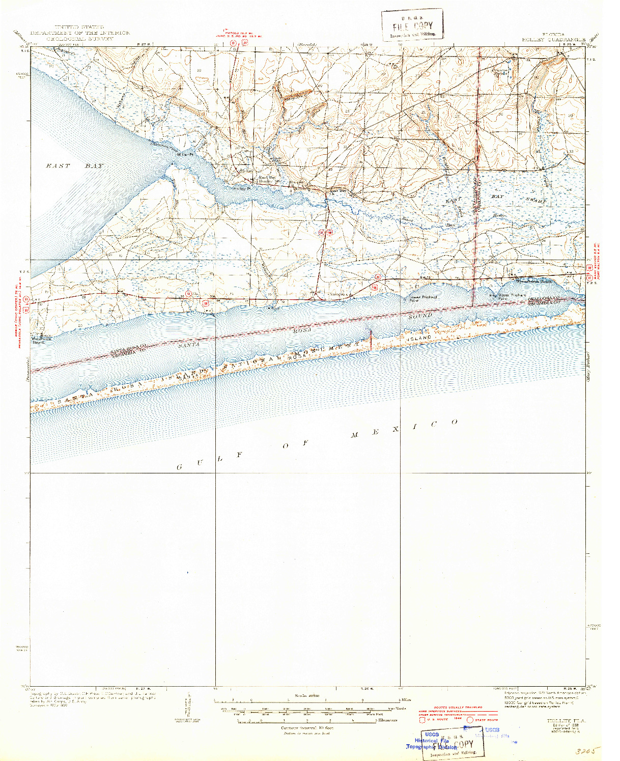 USGS 1:62500-SCALE QUADRANGLE FOR HOLLEY, FL 1938
