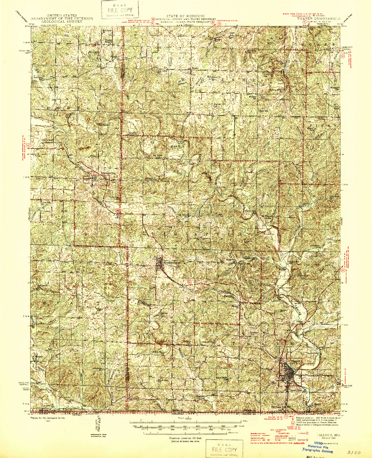 USGS 1:62500-SCALE QUADRANGLE FOR THAYER, MO 1946
