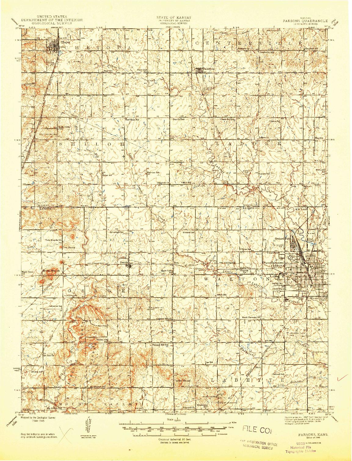 USGS 1:62500-SCALE QUADRANGLE FOR PARSONS, KS 1946