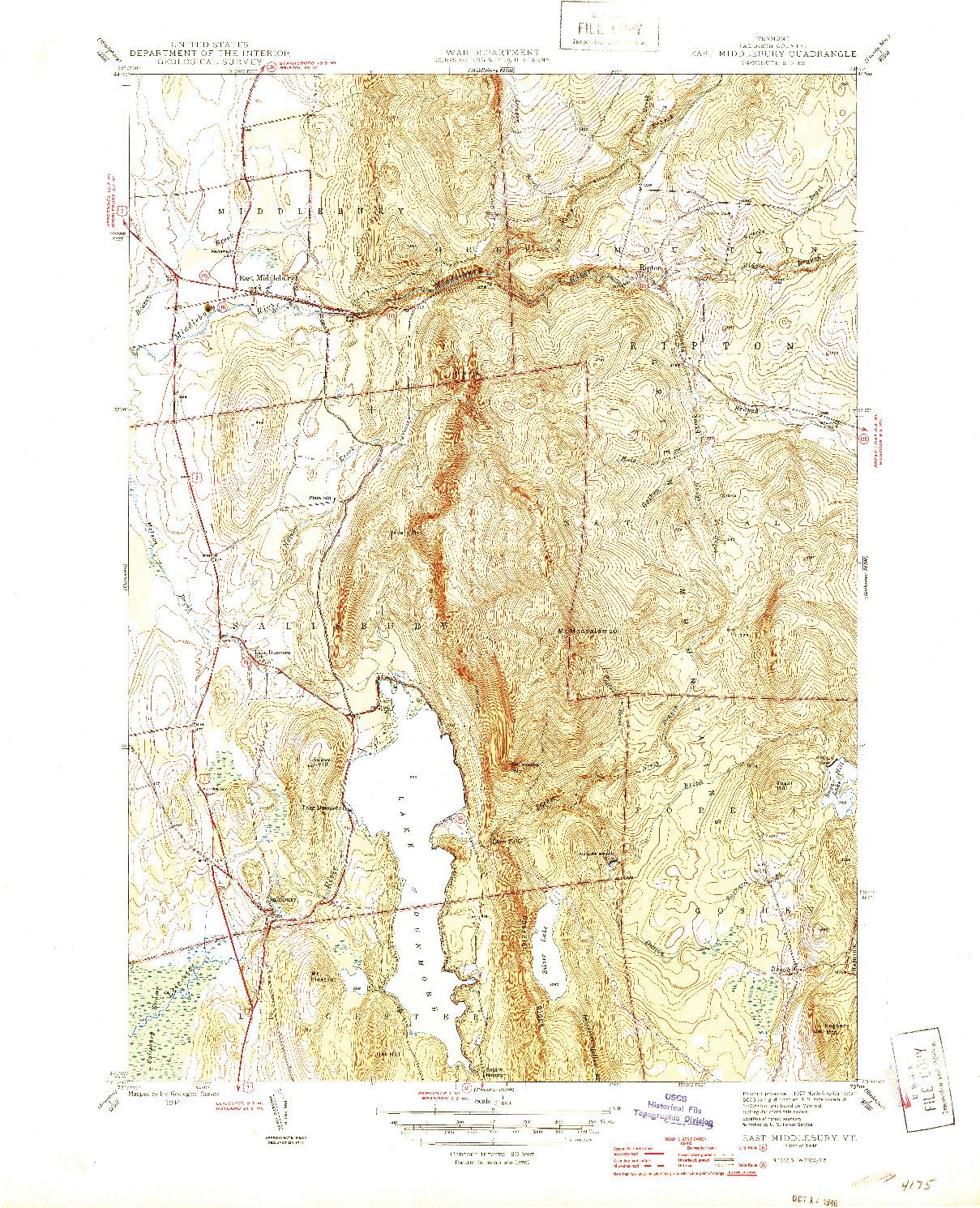 USGS 1:31680-SCALE QUADRANGLE FOR EAST MIDDLEBURY, VT 1946