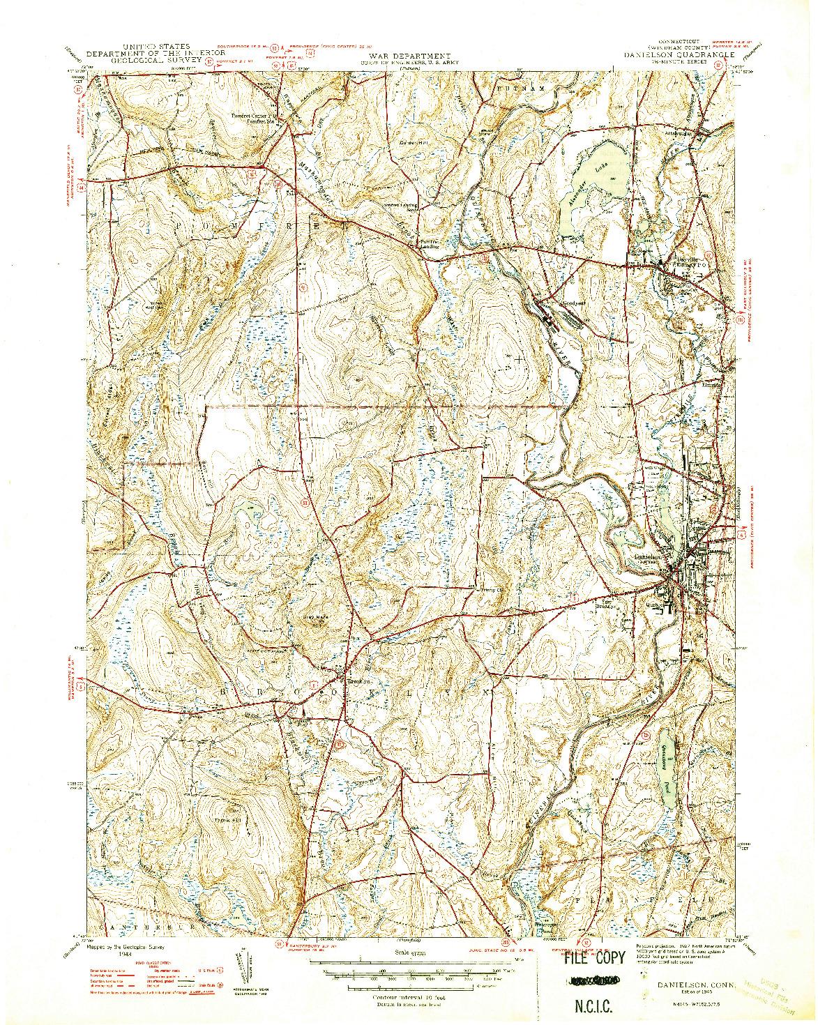 USGS 1:31680-SCALE QUADRANGLE FOR DANIELSON, CT 1946