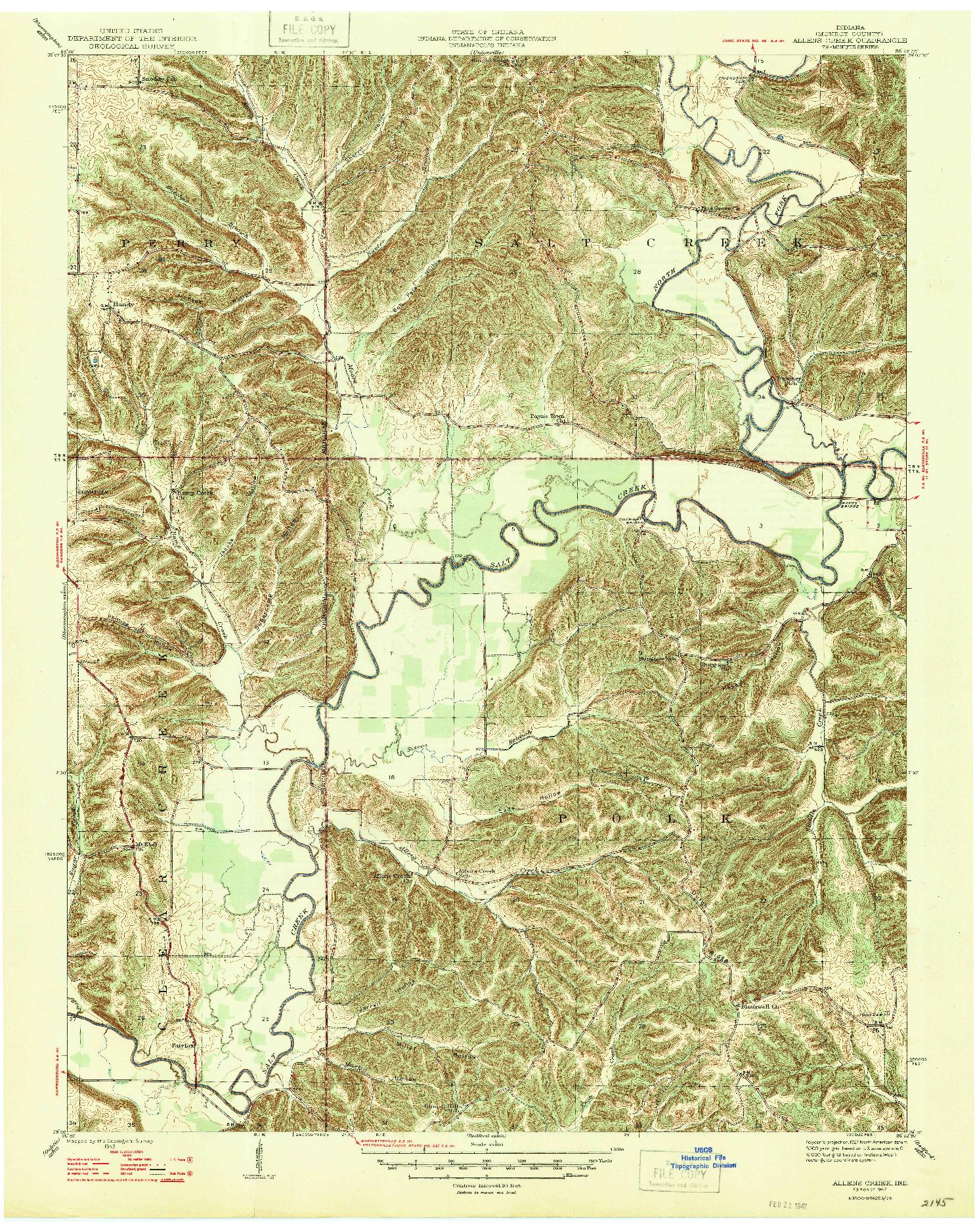 USGS 1:24000-SCALE QUADRANGLE FOR ALLENS CREEK, IN 1947