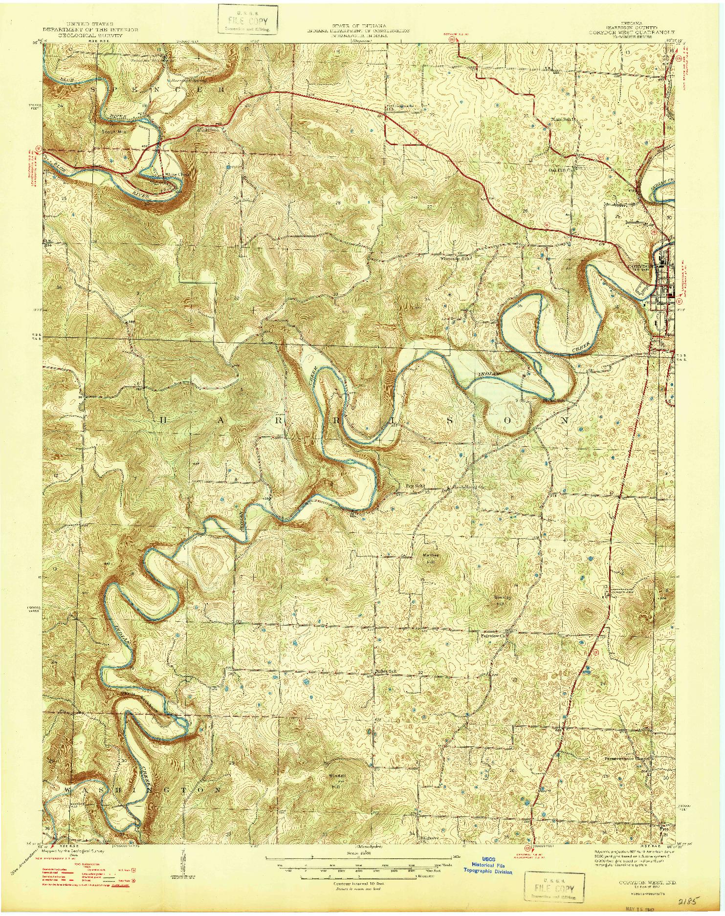 USGS 1:24000-SCALE QUADRANGLE FOR CORYDON WEST, IN 1947