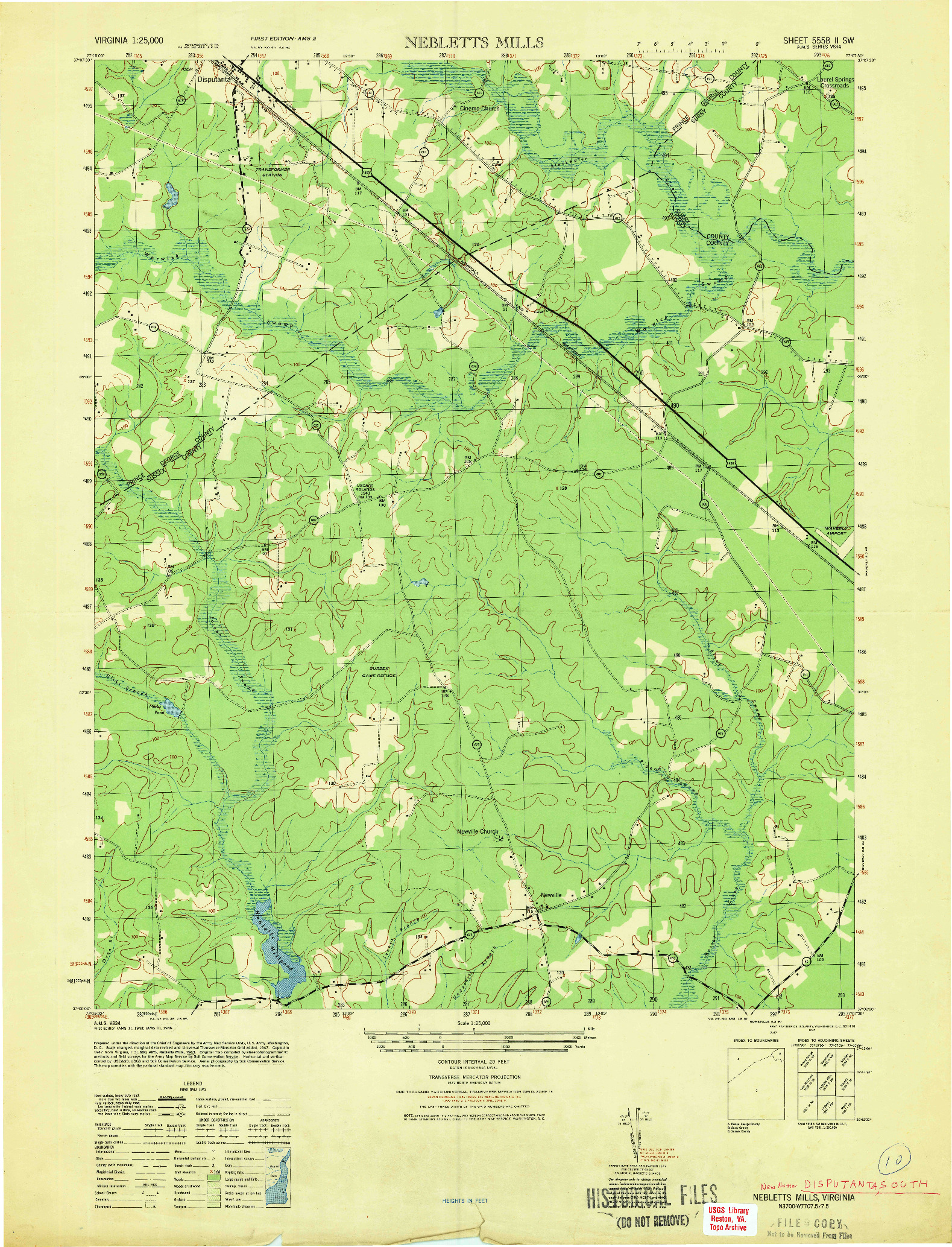 USGS 1:25000-SCALE QUADRANGLE FOR NEBLETTS MILLS, VA 1947