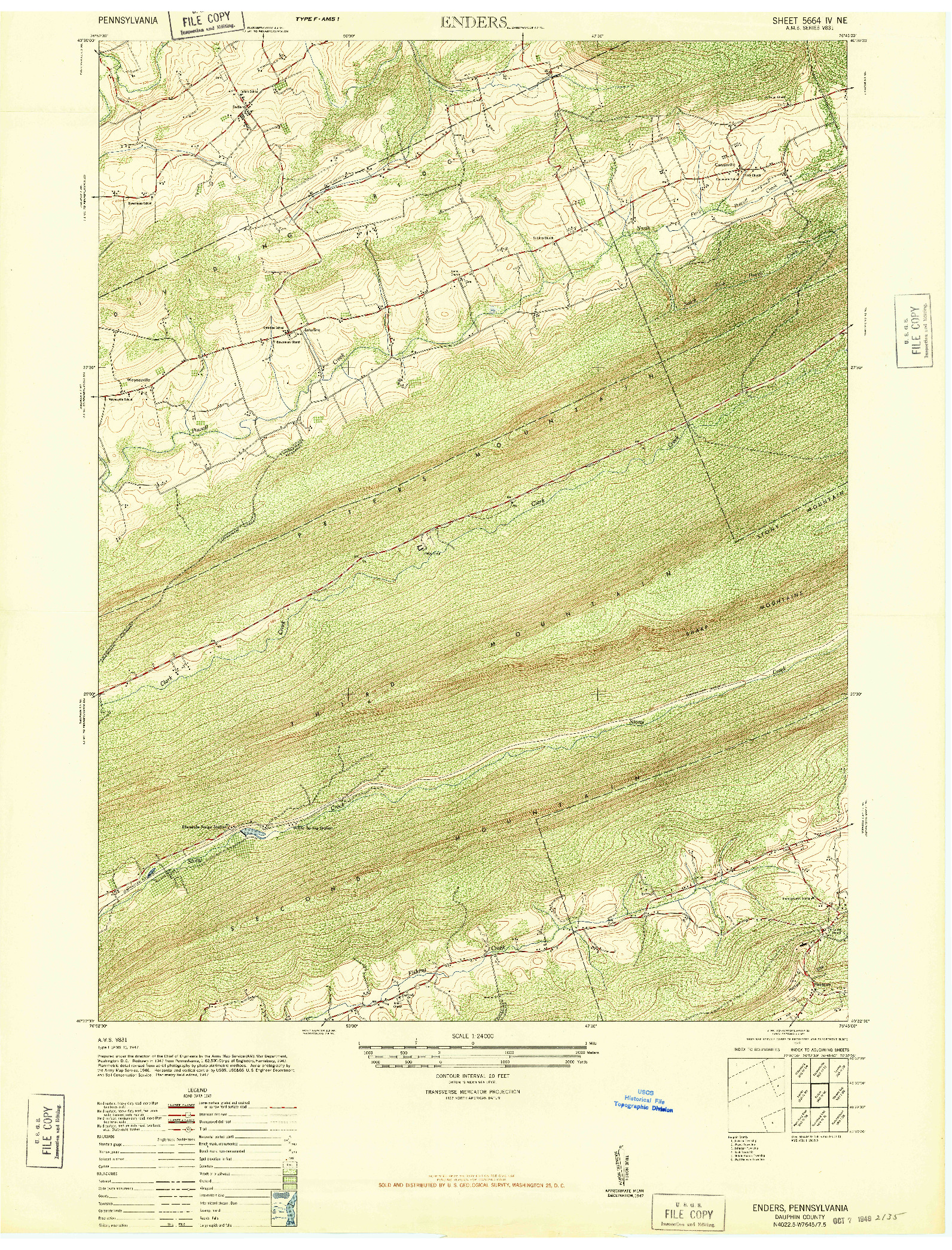 USGS 1:24000-SCALE QUADRANGLE FOR ENDERS, PA 1947