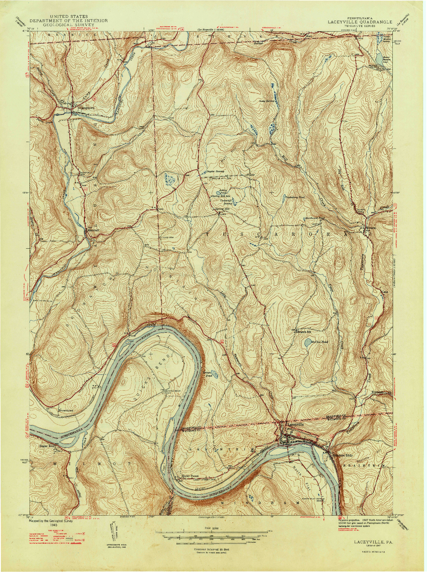 USGS 1:24000-SCALE QUADRANGLE FOR LACEYVILLE, PA 1947
