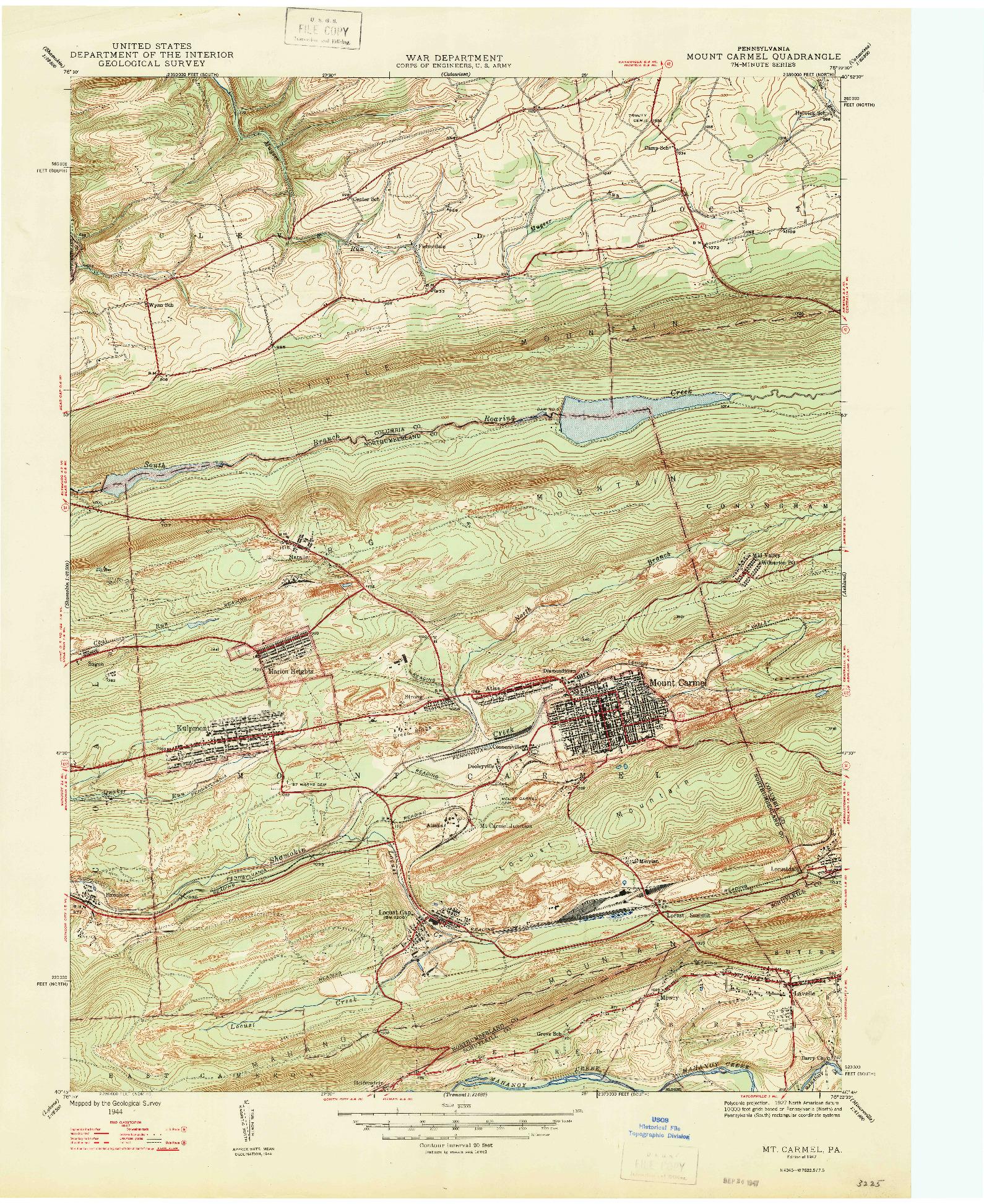 USGS 1:24000-SCALE QUADRANGLE FOR MT. CARMEL, PA 1947