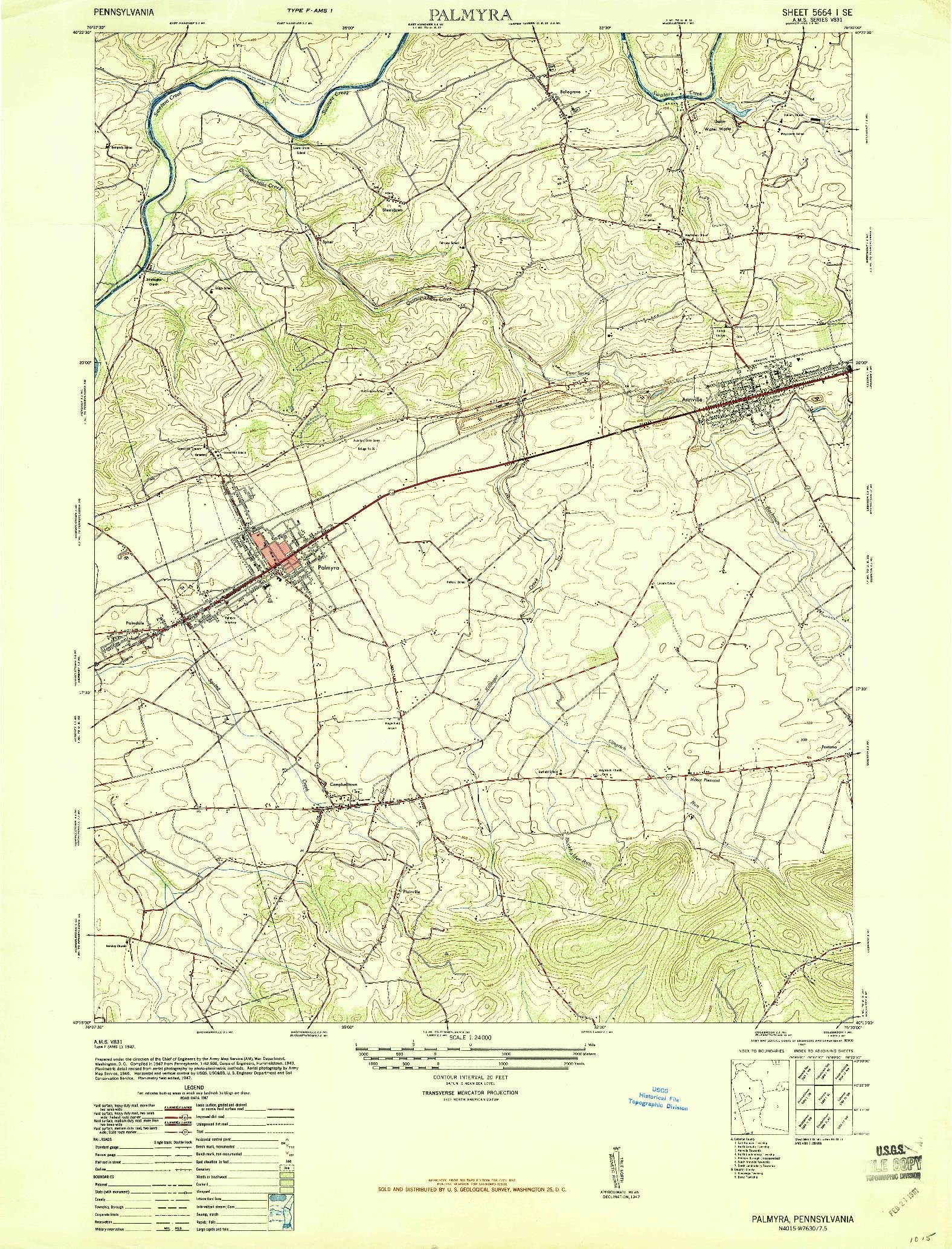 USGS 1:24000-SCALE QUADRANGLE FOR PALMYRA, PA 1947
