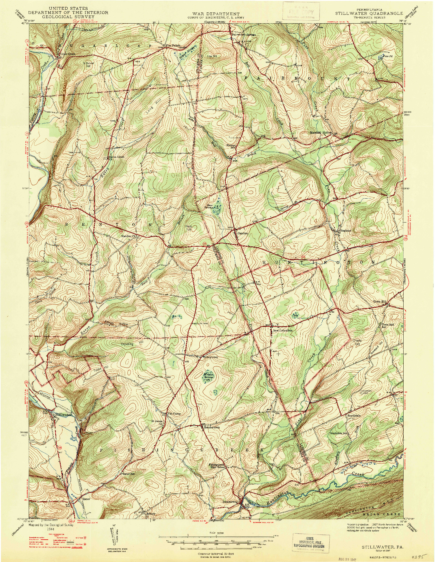 USGS 1:24000-SCALE QUADRANGLE FOR STILLWATER, PA 1947