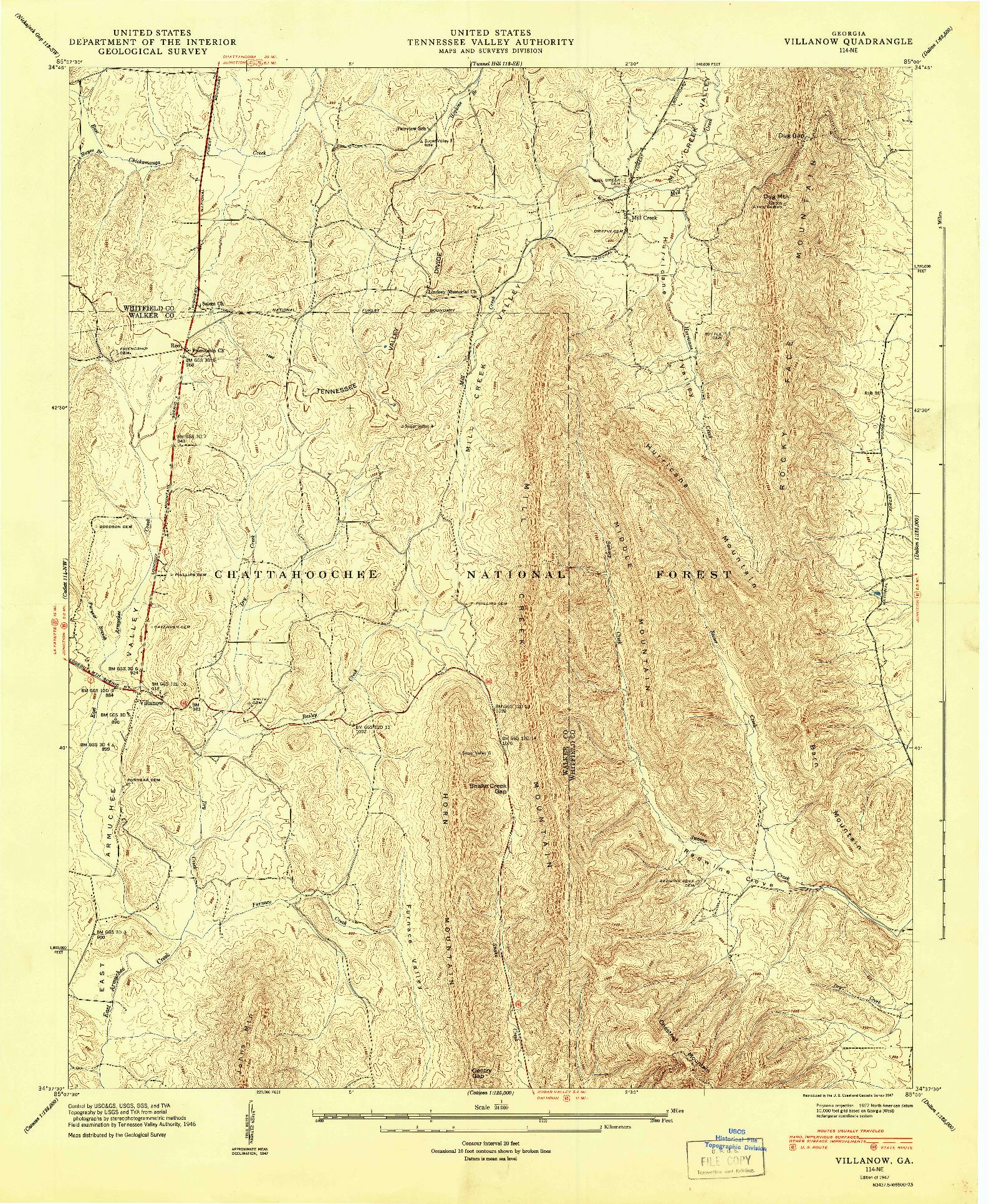 USGS 1:24000-SCALE QUADRANGLE FOR VILLANOW, GA 1947