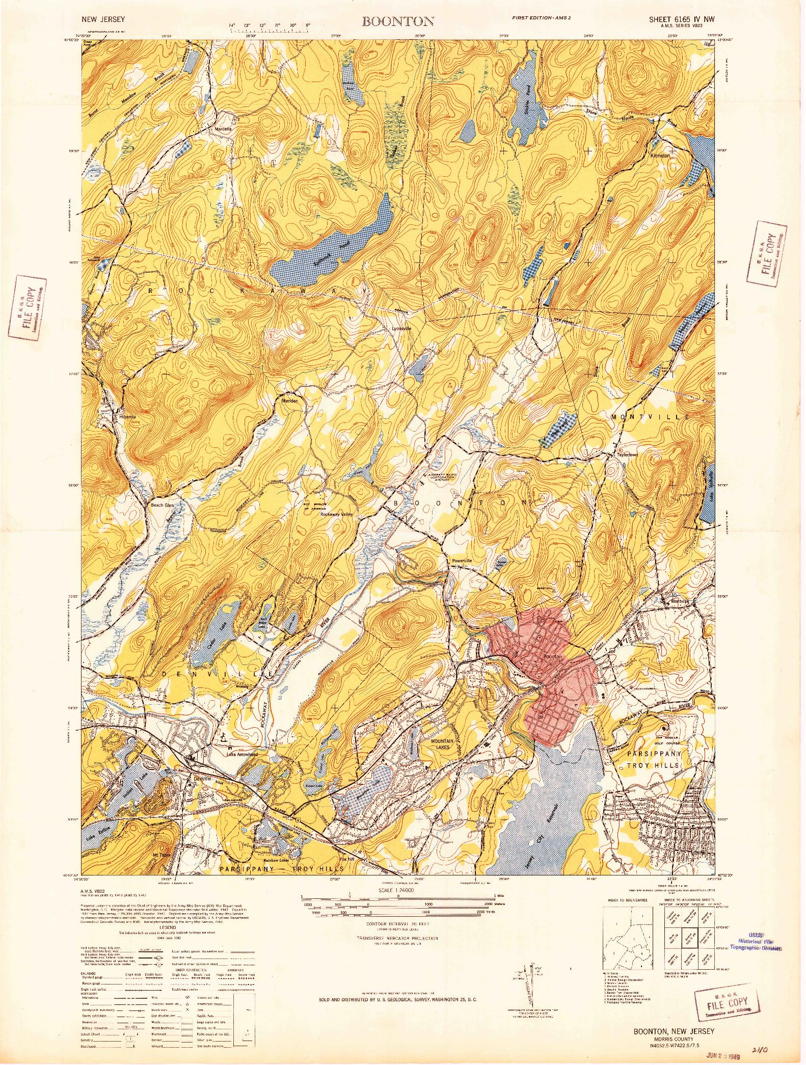 USGS 1:24000-SCALE QUADRANGLE FOR BOONTON, NJ 1947