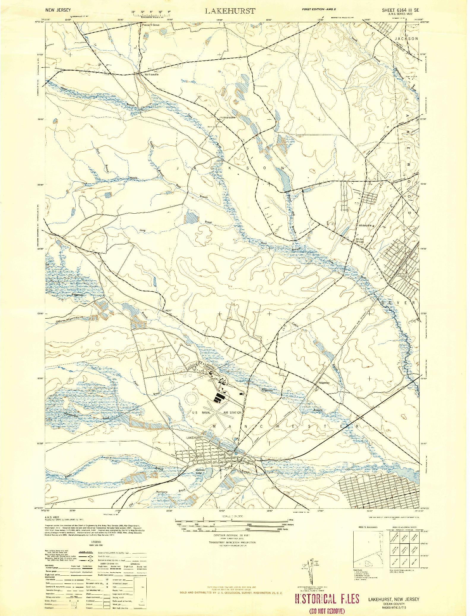 USGS 1:24000-SCALE QUADRANGLE FOR LAKEHURST, NJ 1947