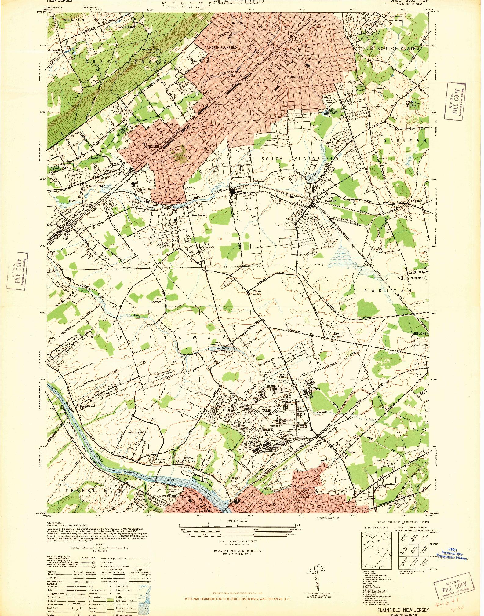 USGS 1:24000-SCALE QUADRANGLE FOR PLAINFIELD, NJ 1947