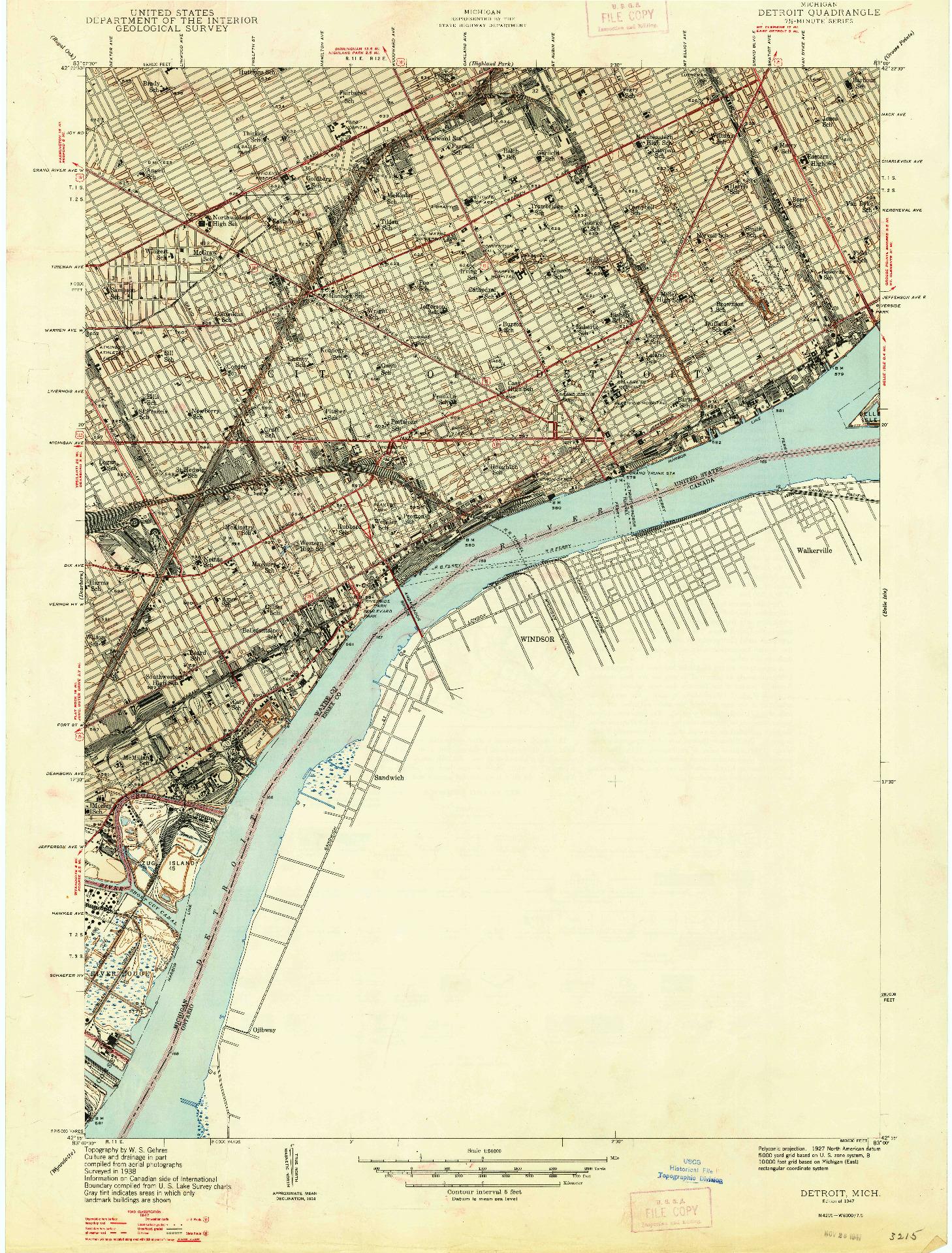 USGS 1:24000-SCALE QUADRANGLE FOR DETROIT, MI 1947
