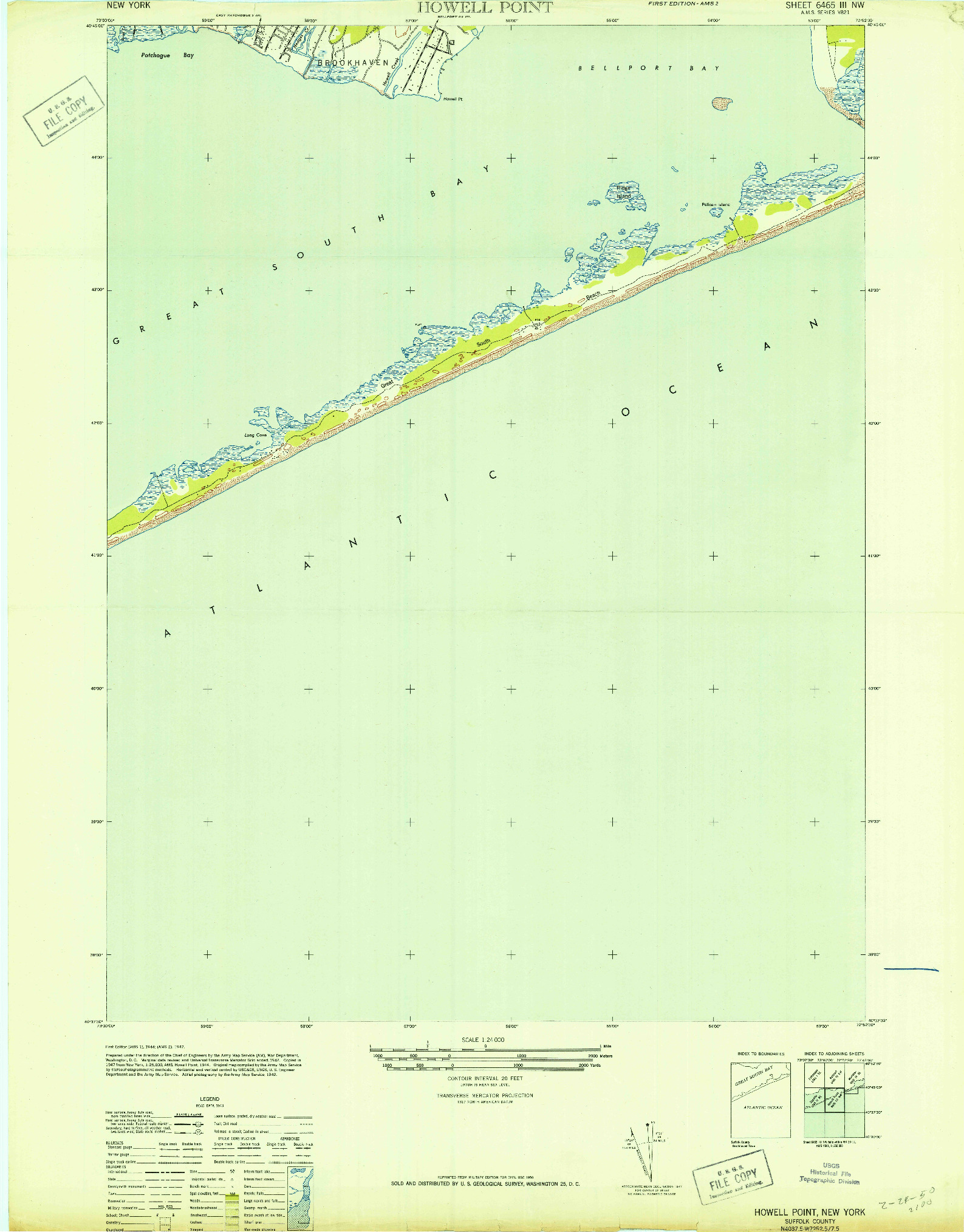 USGS 1:24000-SCALE QUADRANGLE FOR HOWELLS POINT, NY 1947