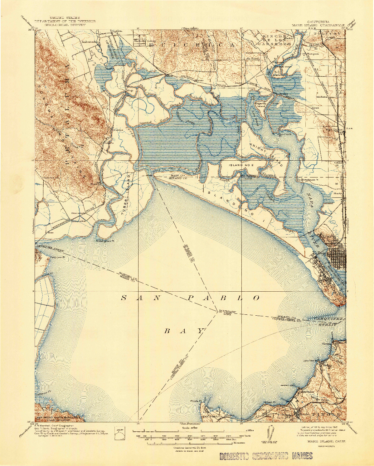 USGS 1:62500-SCALE QUADRANGLE FOR MARE ISLAND, CA 1916
