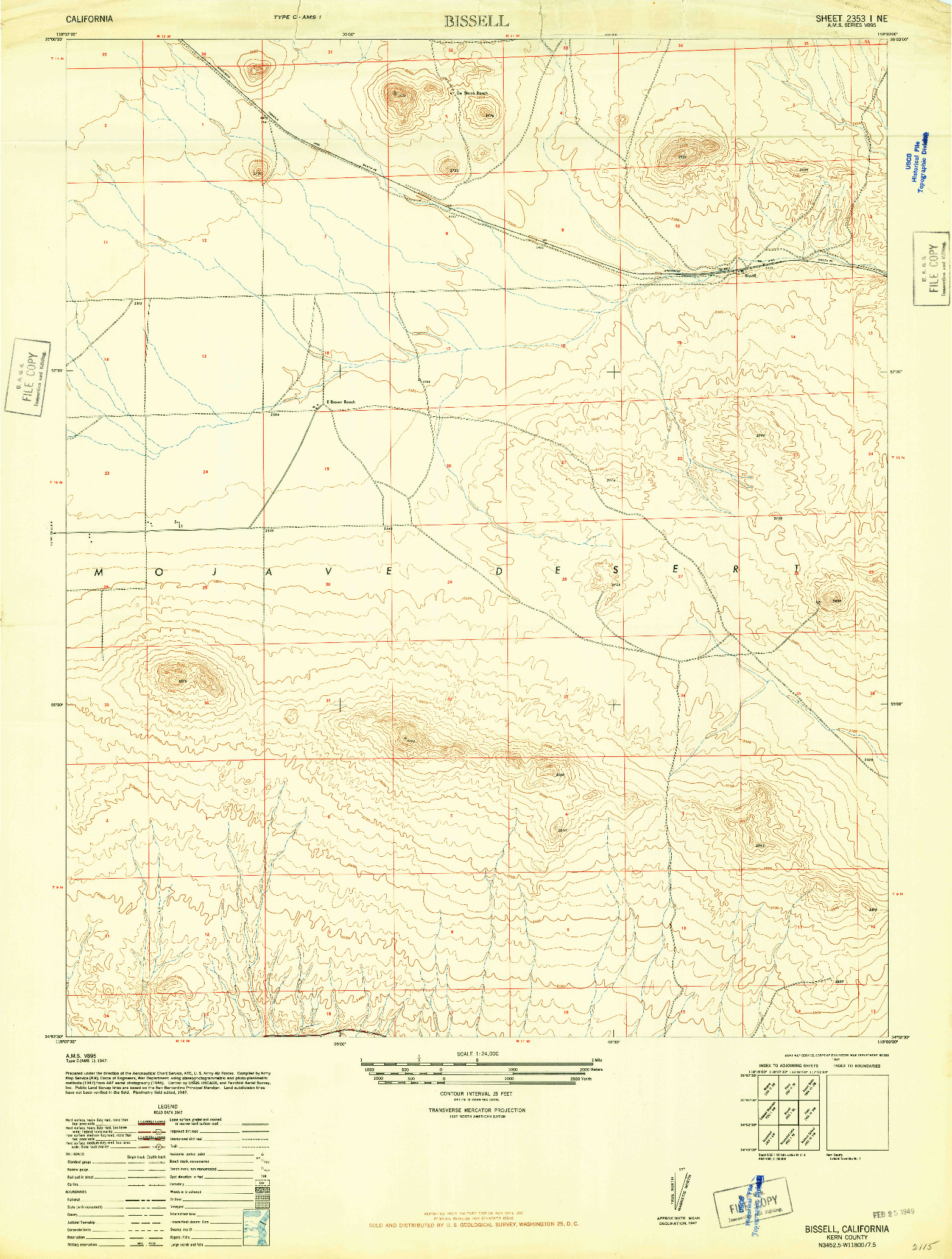 USGS 1:24000-SCALE QUADRANGLE FOR BISSELL, CA 1947