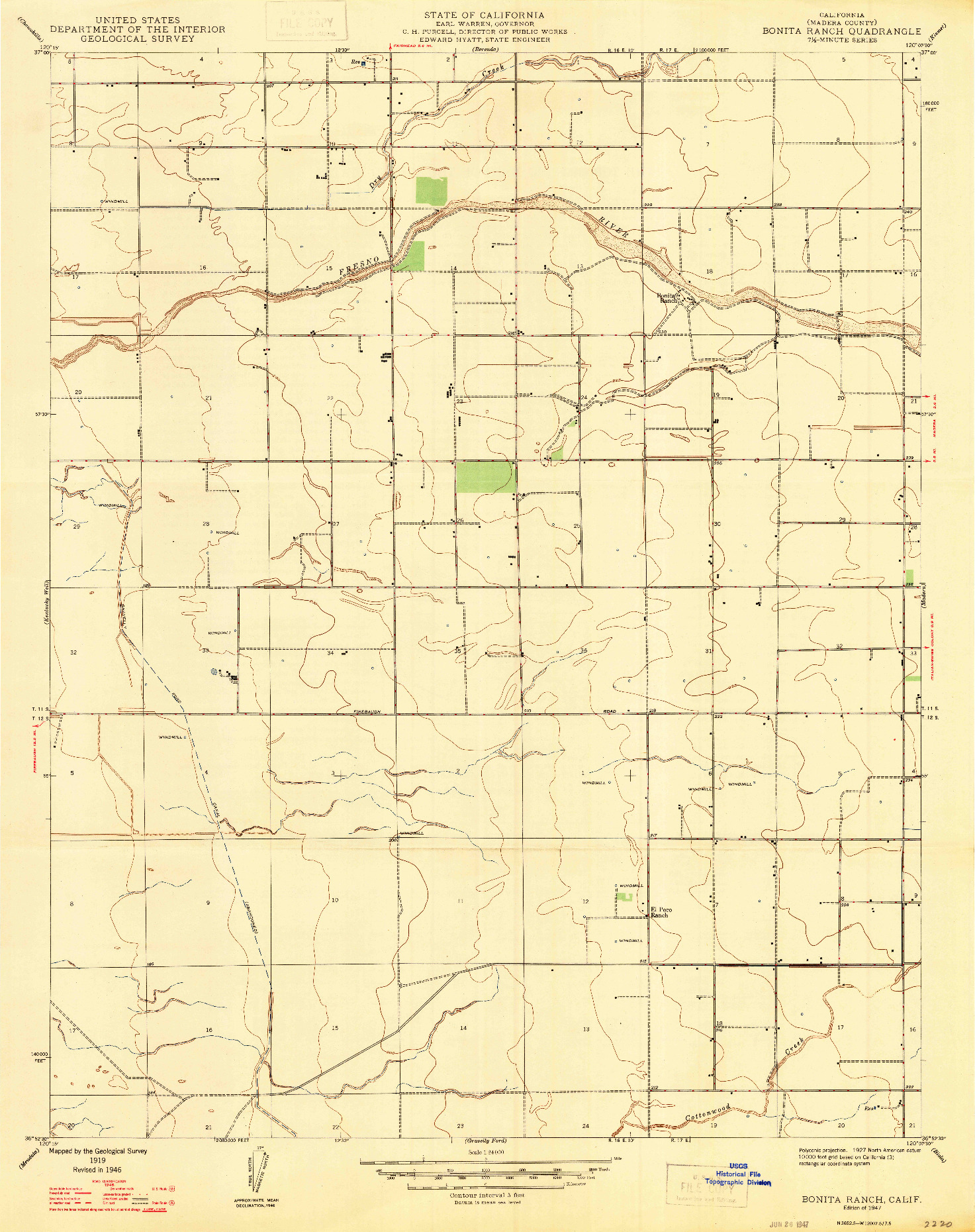 USGS 1:24000-SCALE QUADRANGLE FOR BONITA RANCH, CA 1947