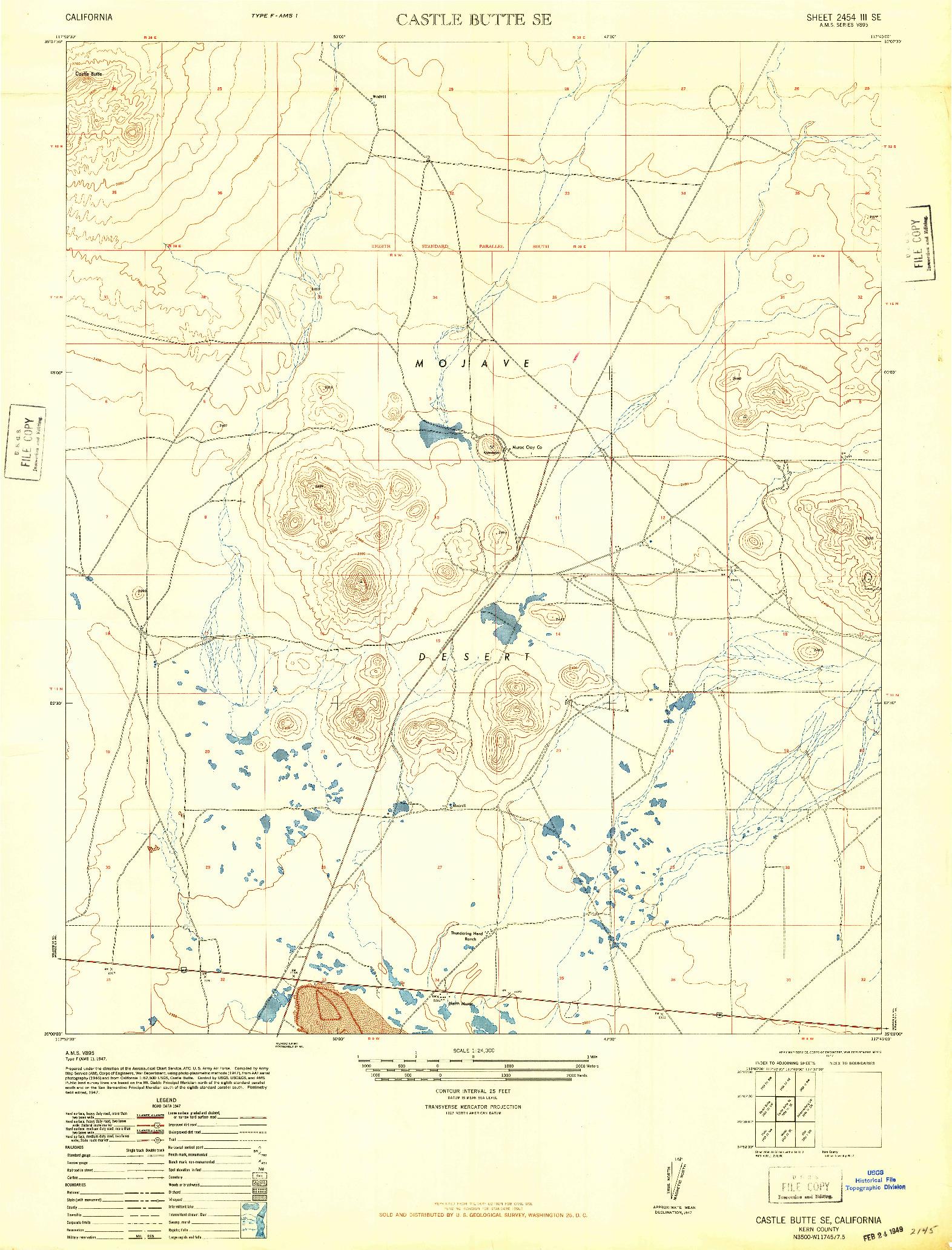 USGS 1:24000-SCALE QUADRANGLE FOR CASTLE BUTTE SE, CA 1947